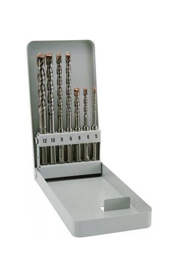 Набор буров Alpen SDS-plus F4, 7 предметов500007100Набор шлифованных буров SDS-Plus F4 с запатентованным 4-х ступенчатым профилем и запатентованной твердосплавной пластиной. Очень долгий срок службы. Высокая производительность в бетоне, армированном бетоне, натуральном камне и каменной кладке. Диаметры: O5,0х110 мм, O6,0х110 мм, O8,0х110 мм, O6,0х160 мм, O8,0х160 мм, O10,0х160 мм, O12,0х160 мм.