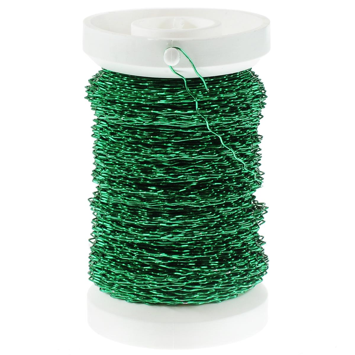 Проволока декоративная Hobby Time, цвет: зеленый, 0,30 мм х 45 м7706405Проволоку Glorex можно использовать для создания различных изделий бижутерии, для декора фотоальбомов, домашнего интерьера и других целей. Проволока - это очень распространенный и легкодоступный материал. Ее изготавливают из разных металлов и покрывают лаками разных цветов, благодаря чему она обладает прекрасными декоративными свойствами. Проволока является хорошим материалом для плетения, а для достижения эффектного украшения можно сочетать несколько цветов проволоки.