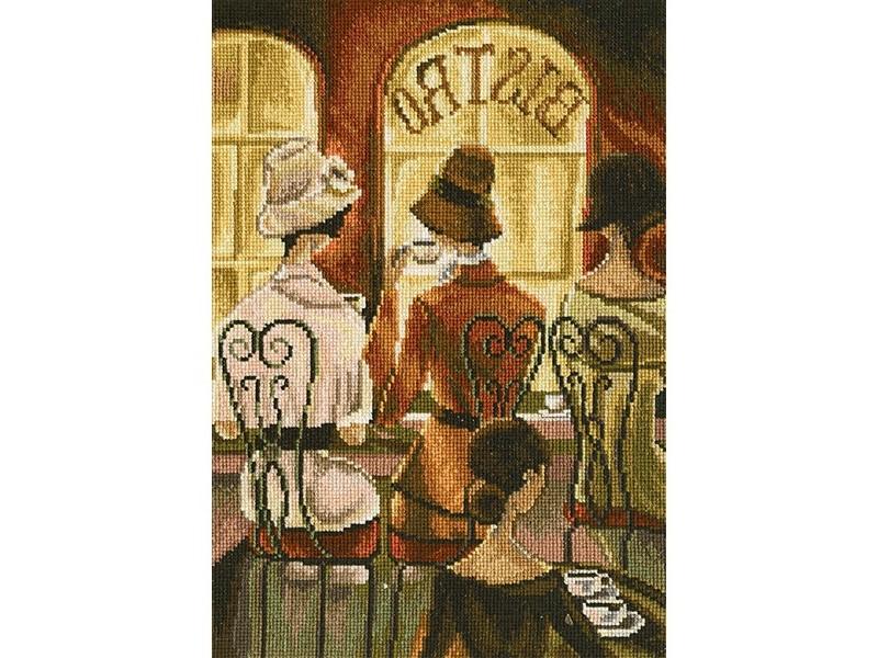 Набор для вышивания крестом РТО Встреча в кафе, 19 см х 28 см. М384544441Набор для вышивания поможет вам создать свой личный шедевр - красивую картину по мотивам работы Триш Биддл (Trish Biddle), вышитую в технике крест. Работа, выполненная своими руками, станет отличным подарком для друзей и близких! Набор содержит: - канва Aida 16 (молочная, без рисунка), 100% хлопок, - мулине DMC, разобранные на органайзере (42 цвета), 100% хлопок, - игла для вышивания, - символьная схема, - инструкция на русском языке. Размер готовой работы: 19 см х 28 см.