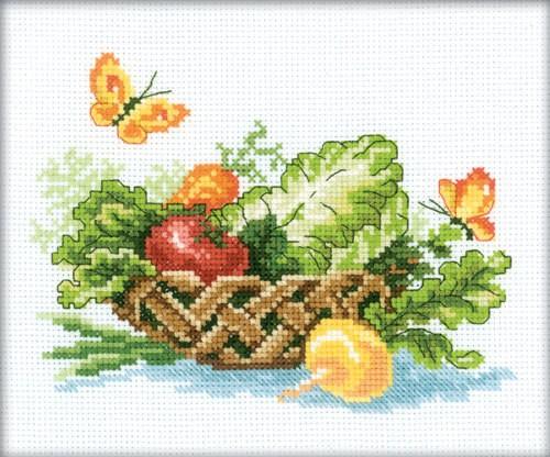 Набор для вышивания крестом RTO Корзина полная овощей, 18 х 15 см648975Набор для вышивания крестом RTO Корзина полная овощей поможет вам создать свой личный шедевр - красивую картину, вышитую нитками мулине в технике счетный крест. Работа, выполненная своими руками, станет отличным подарком для друзей и близких! Набор содержит: - белая канва Aida № 14 (хлопок) без рисунка, - мулине DMC (хлопок) - 26 цветов, - игла, - схема для вышивания, - инструкция на русском языке.