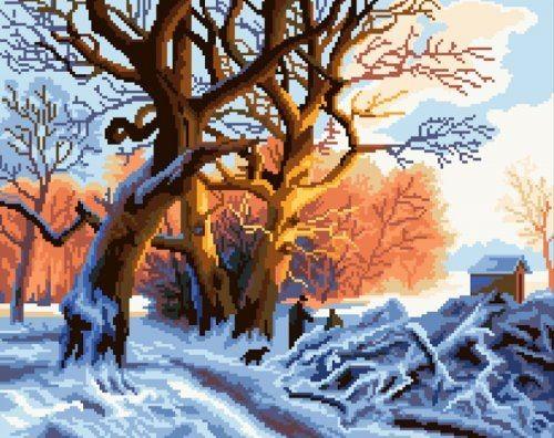 Набор для вышивания крестом Nitex Зимний лес, 45 см х 33 см7703747Красивый рисунок-вышивка, выполненный на канве, выглядит оригинально и всегда модно. Работа, сделанная своими руками, создаст особый уют и атмосферу в доме и долгие годы будет радовать вас и ваших близких. Набор для вышивания содержит все необходимые материалы. Вышивка выполняется швом счетный крест в две нити. В состав набора входит: - канва №14 белого цвета с нанесенным рисунком (100% хлопок), - вышивальные нитки-мулине ПНК им. С. М. Кирова (20 цветов, 100% хлопок), - игла для вышивания с позолоченным ушком.