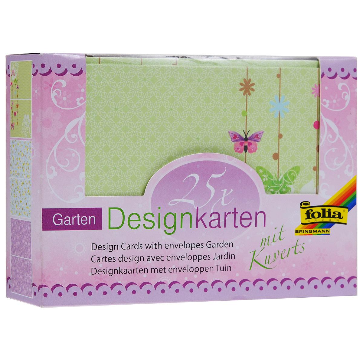 Набор дизайнерских открыток Folia Цветы и бабочки, с конвертами, 14,5 х 10,5 см, 25 шт