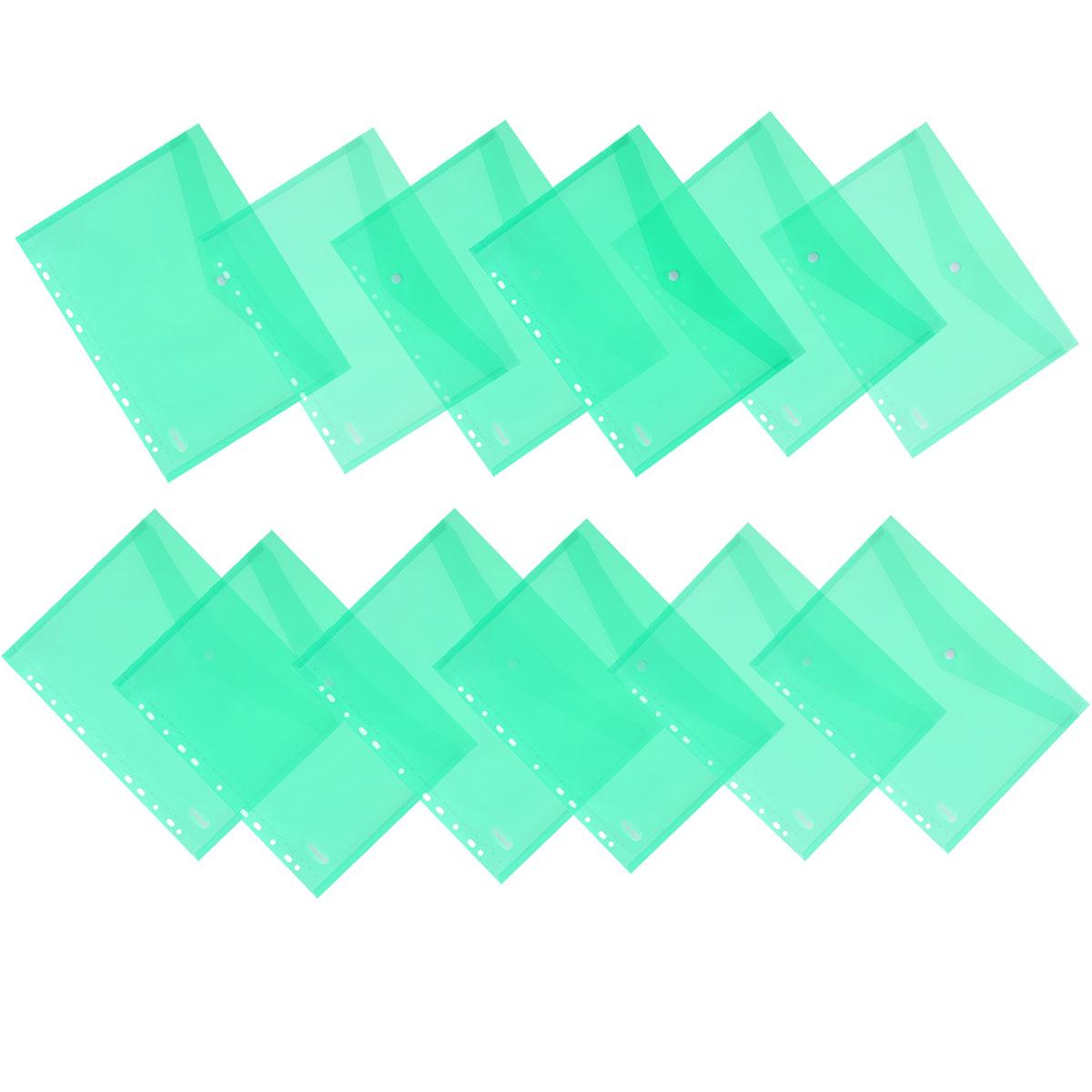 Папка-конверт на кнопке Centrum, горизонтальная, с перфорацией, цвет: зеленый. Формат А4, 12 шт80631_зеленыйПапка-конверт Centrum - это удобный и функциональный офисный инструмент, предназначенный для хранения и транспортировки рабочих бумаг и документов формата А4. Папка изготовлена из полупрозрачного глянцевого пластика, имеет перфорацию. Закрывается на практичную крышку с кнопкой. В комплект входят 12 папок формата A4. Папка-конверт - это незаменимый атрибут для студента, школьника, офисного работника. Такая папка надежно сохранит ваши документы и сбережет их от повреждений, пыли и влаги.