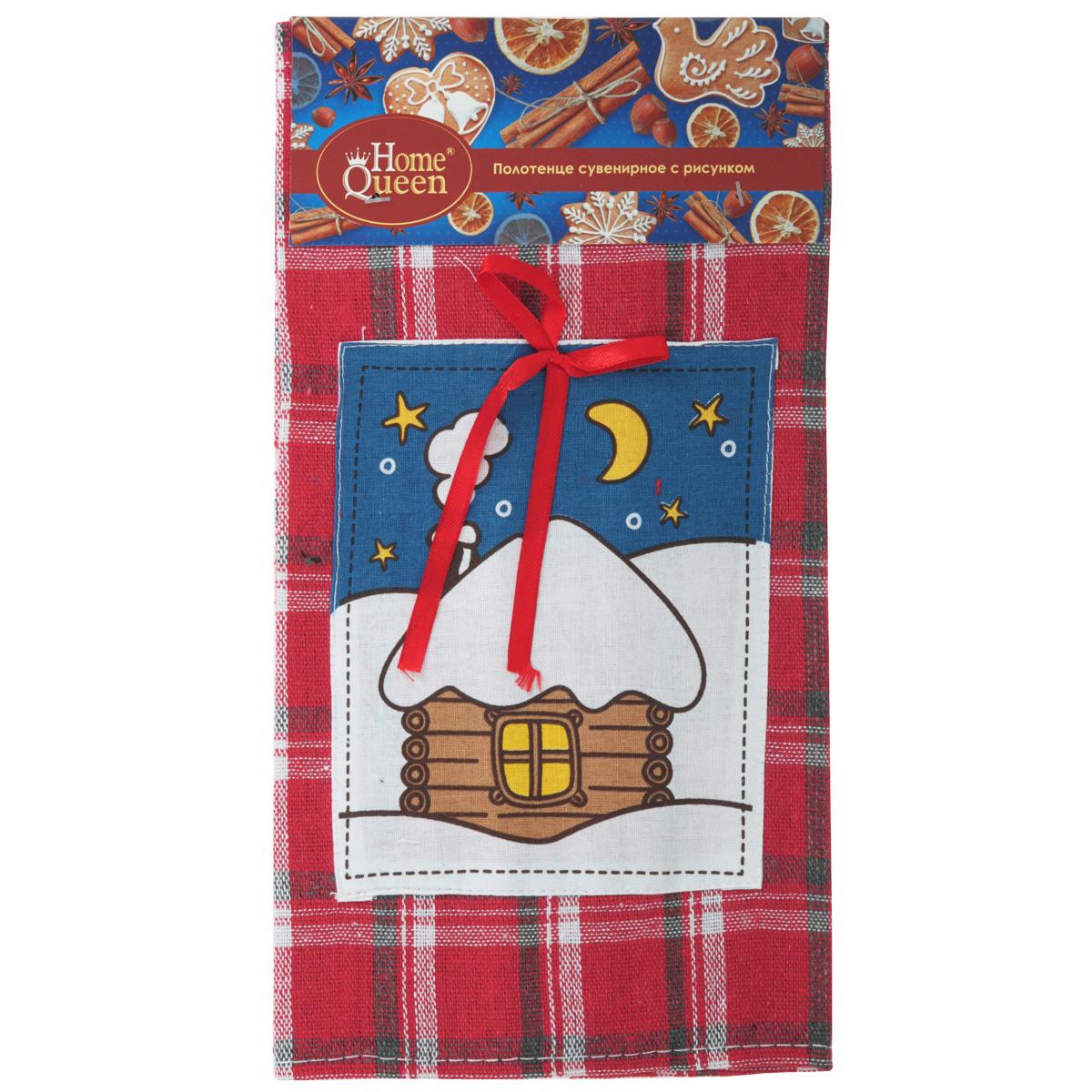Полотенце сувенирное Home Queen, 36 см х 58 см65035Сувенирное полотенце Home Queen изготовлено из хлопка. Изделие оформлено принтом в клетку и нашивкой с зимним пейзажем. Такое полотенце красиво дополнит интерьер кухни к праздникам, а также послужит прекрасным новогодним подарком.