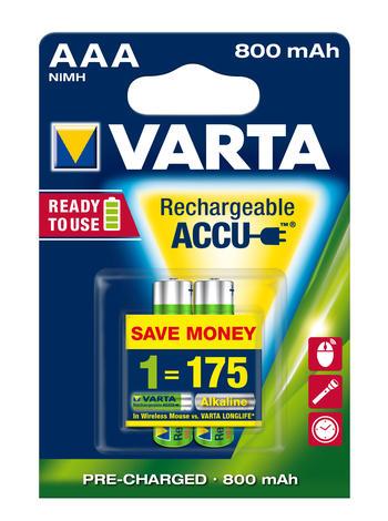 Аккумулятор Varta Ready2Use, тип ААА, 800 мАч, 2 шт38682Аккумуляторы Varta Ready2Use обеспечивают продолжительную работу всем стандартным устройствам. Во время хранения большая часть мощности у обыкновенных аккумуляторов сокращается, но аккумуляторы Varta с технологией Ready2Use обеспечивают сохранение мощности. Во время хранения аккумуляторы сохраняют 75% зарядки в течение года после последней зарядки. Аккумуляторы Varta Ready2Use могут использоваться со всеми стандартными зарядными устройствами.