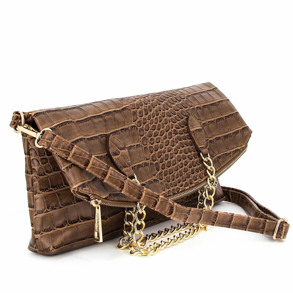 Сумка женская Dispacci, цвет: коричневый. 3083530835Женская сумка Dispacci выполнена из экокожи с тиснением под крокодила, ее можно носить как клатч на длинном ремешке или в руках, так и как полноценную сумку на двух ручках. Сумка закрывается на застежку-молнию и содержит одно отделение. Внутри имеются два открытых накладных кармашка для мобильного телефона и мелочей, врезной кармашек на застежке-молнии и вшитый карман на застежке-молнии, образующий еще один кармашек. С тыльной стороны сумки находится врезной карман на застежке-молнии. Сумка оснащена съемным плечевым регулируемым ремнем и двумя ручками-цепями. Фурнитура - золотистого цвета. Стильная женская сумка добавит вам очарования и сделает образ модным и актуальным.