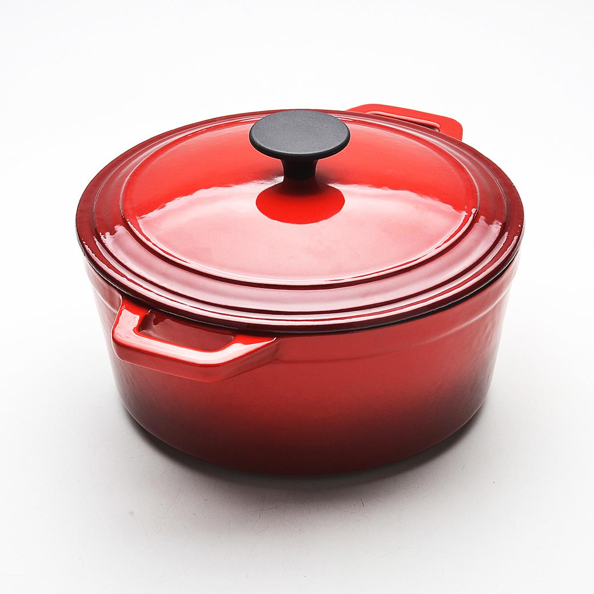Кастрюля Mayer & Boch с крышкой, с эмалевым покрытием, цвет: красный, 5,6 л22066Кастрюля Mayer & Boch, изготовленная из чугуна, идеально подходит для приготовления вкусных тушеных блюд. Она имеет внешнее и внутреннее эмалевое покрытие. Чугун является традиционным высокопрочным, экологически чистым материалом. Его главной особенностью является то, что эмаль наносится с внешней стороны изделия, а внутри - керамическое покрытие. Причем, чем дольше и чаще вы пользуетесь этой посудой, тем лучше становятся ее свойства. Высокая теплоемкость чугуна позволяет ему сильно нагреваться и медленно остывать, а это в свою очередь обеспечивает равномерное приготовление пищи. Чугун не вступает в какие-либо химические реакции с пищей в процессе приготовления и хранения, а плотное покрытие - безупречное препятствие для бактерий и запахов. Пища, приготовленная в чугунной посуде, благодаря экологической чистоте материала не может нанести вред здоровью человека. Кастрюля оснащена двумя удобными ручками. К кастрюле прилагается чугунная крышка с...