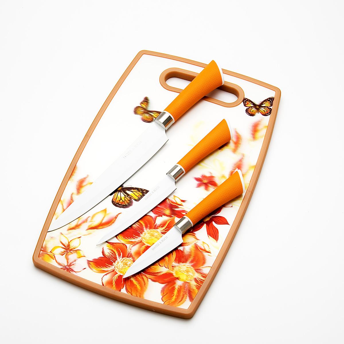 Набор ножей Mayer & Boch, на доске, 4 предмета23311Набор ножей Mayer & Boch состоит из ножа слайсера, универсального ножа и ножа для чистки овощей. Лезвия ножей выполнены из высококачественной нержавеющей стали с антибактериальным покрытием и имеют износостойкую режущую кромку, благодаря чему ножи дольше остаются острыми. Специальный дизайн рукояток, выполненных из пластика, обеспечивает комфортный и легко контролируемый захват. В комплекте разделочная доска. В набор входят: Нож слайсер - нож с длинным широким лезвием. Используется для тончайшей нарезки различных продуктов. Нож универсальный - легкий и многофункциональный нож для резки небольших овощей и фруктов, колбасы, сыра, масла. Имеет неширокое лезвие. Нож для чистки овощей - небольшой нож с коротким лезвием. Отлично подойдет для чистки овощей и фруктов. Разделочная доска.