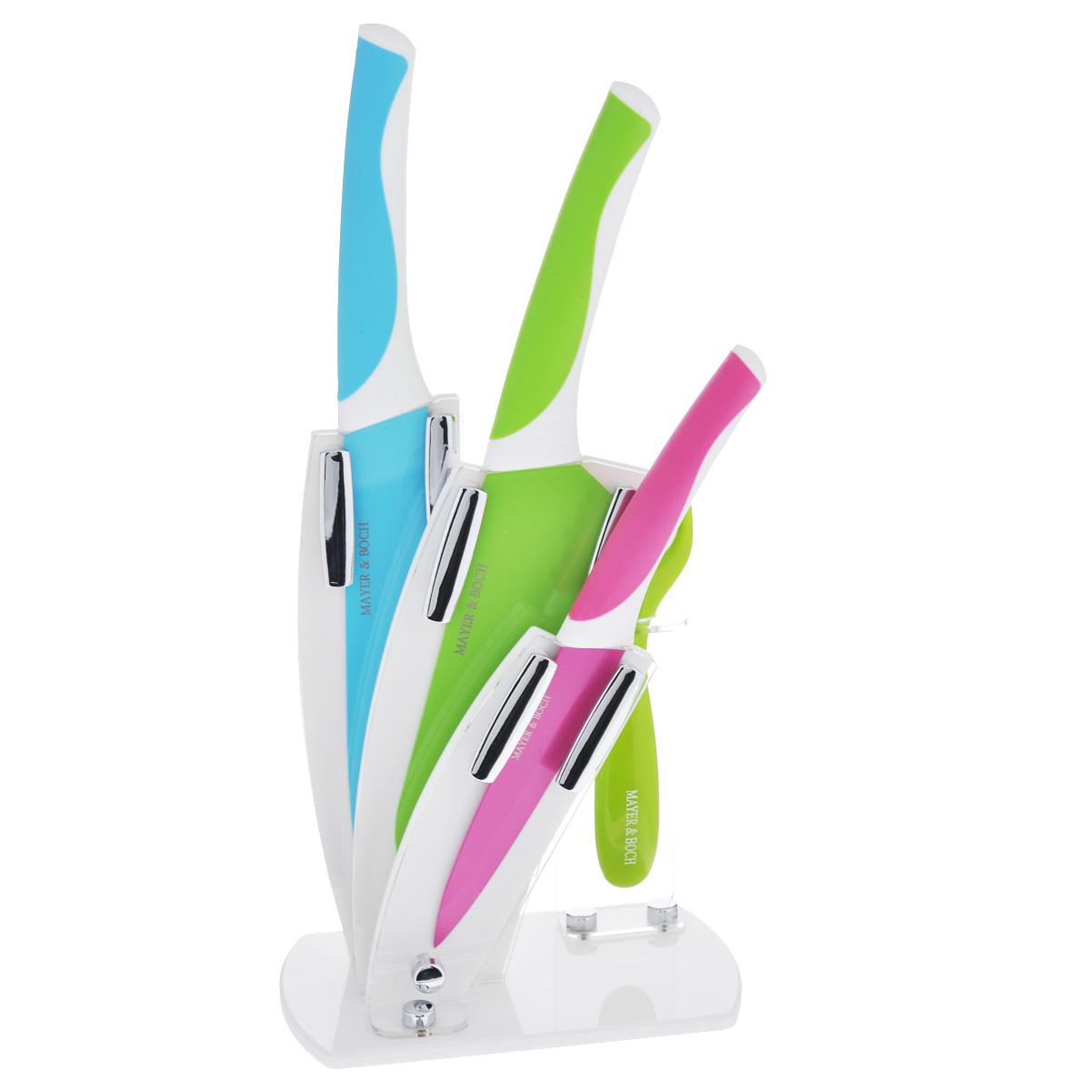 Набор ножей Mayer & Boch, 5 предметов. 2331923319Набор ножей Mayer & Boch состоит из 3 ножей (разделочный, сантоку, универсальный), ножа-пиллера и подставки. Лезвия ножей выполнены из высококачественной нержавеющей стали (3CR13) с покрытием non-stick. Такое покрытие предотвращает прилипание продуктов к лезвию ножа, продукты моментально отлипают, что позволяет нарезать быстро. Покрытие также предотвращает ржавление. Режущая кромка лезвий устойчива к притуплению. Рукоятки эргономичной формы выполнены из пластика с прорезиненными вставками. Специальный дизайн рукоятки обеспечивает комфортный и легко контролируемый захват. В комплект входит акриловая подставка. В наборе есть все необходимое для ежедневной нарезки фруктов, овощей и мяса. Ножи не рекомендуется мыть в посудомоечной машине. Длина лезвия универсального ножа: 12,7 см. Общая длина универсального ножа: 24,5 см. Длина лезвия ножа сантоку: 17,8 см. Общая длина ножа сантоку: 30 см. Длина лезвия разделочного ножа:...