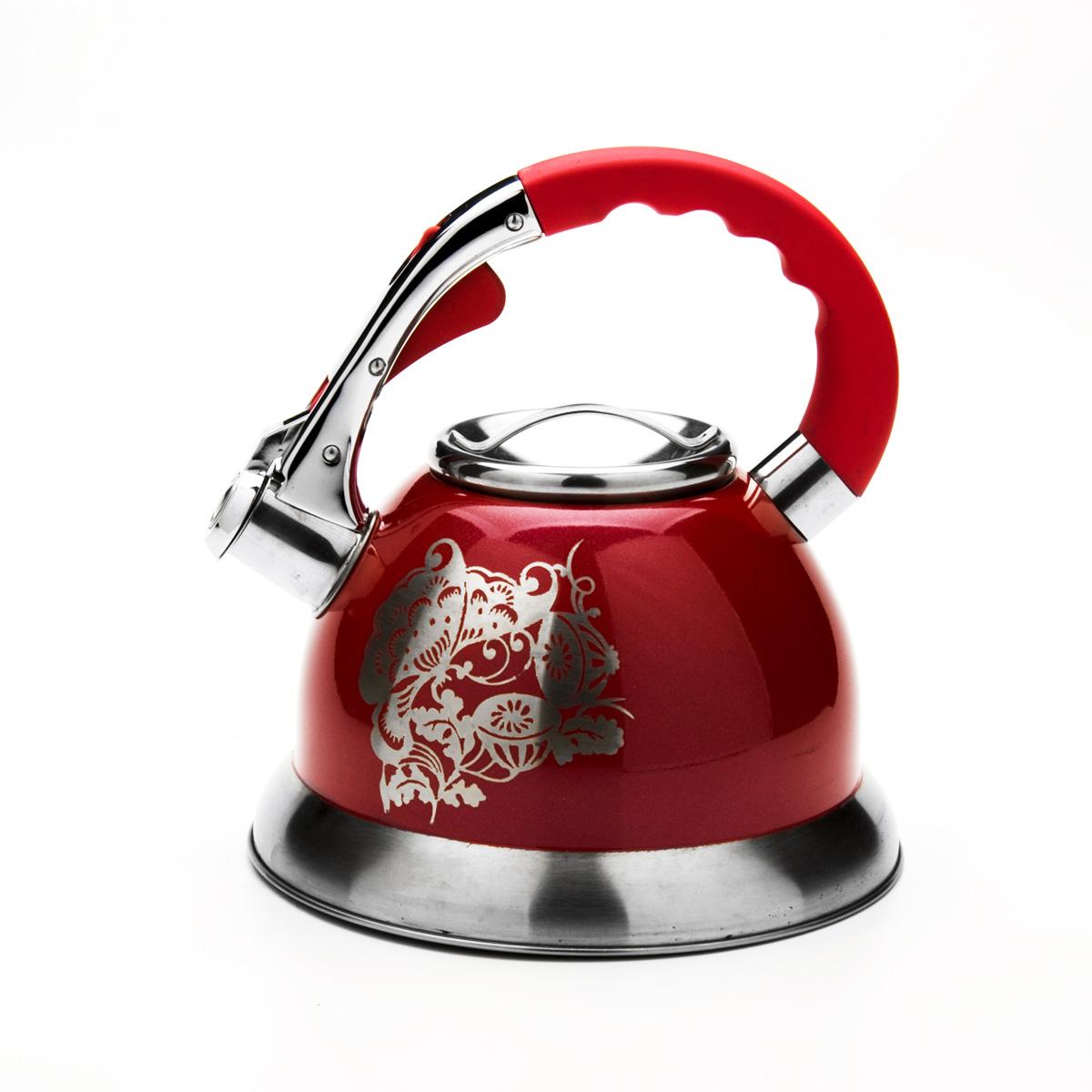 Чайник Mayer & Boch со свистком, цвет: красный, 2,7 л. 2358223582Чайник Mayer & Boch выполнен из высококачественной нержавеющей стали, что обеспечивает долговечность использования. Внешнее цветное эмалевое покрытие придает приятный внешний вид. Фиксированная ручка из нейлона делает использование чайника очень удобным и безопасным. Чайник снабжен свистком и устройством для открывания носика, которое находится на ручке. Можно мыть в посудомоечной машине. Пригоден для всех видов плит, кроме индукционных.