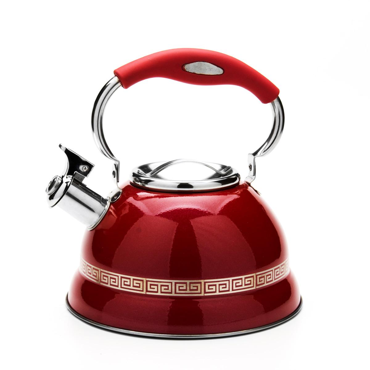Чайник Mayer & Boch со свистком, цвет: красный, 2,7 л. 2358323583Чайник Mayer & Boch выполнен из высококачественной нержавеющей стали, что обеспечивает долговечность использования. Внешнее цветное эмалевое покрытие придает приятный внешний вид. Изделие декорировано оригинальным орнаментом. Подвижная ручка из нейлона делает использование чайника очень удобным и безопасным. Чайник снабжен свистком и устройством для открывания носика, которое находится на ручке. Можно мыть в посудомоечной машине. Пригоден для всех видов плит, включая индукционные.