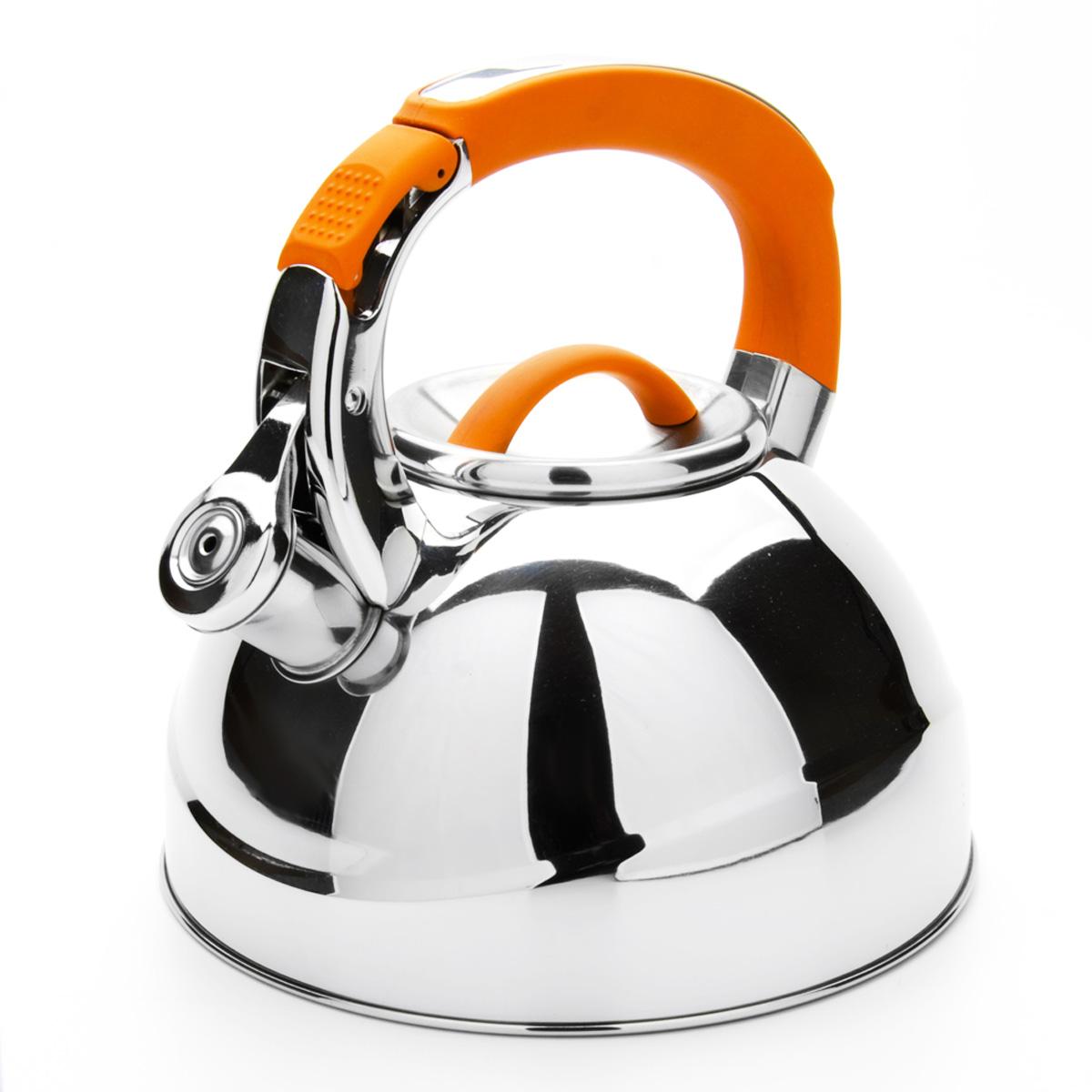 Чайник Mayer & Boch со свистком, цвет: оранжевый, 2,7 л. 2358623586Чайник Mayer & Boch выполнен из высококачественной нержавеющей стали, что обеспечивает долговечность использования. Внешнее зеркальное покрытие придает приятный внешний вид. Фиксированная ручка из нейлона делает использование чайника очень удобным и безопасным. Чайник снабжен свистком и устройством для открывания носика, которое находится на ручке. Можно мыть в посудомоечной машине. Пригоден для всех видов плит, включая индукционные. Высота чайника (без учета крышки и ручки): 11,5 см. Диаметр по верхнему краю: 10 см.