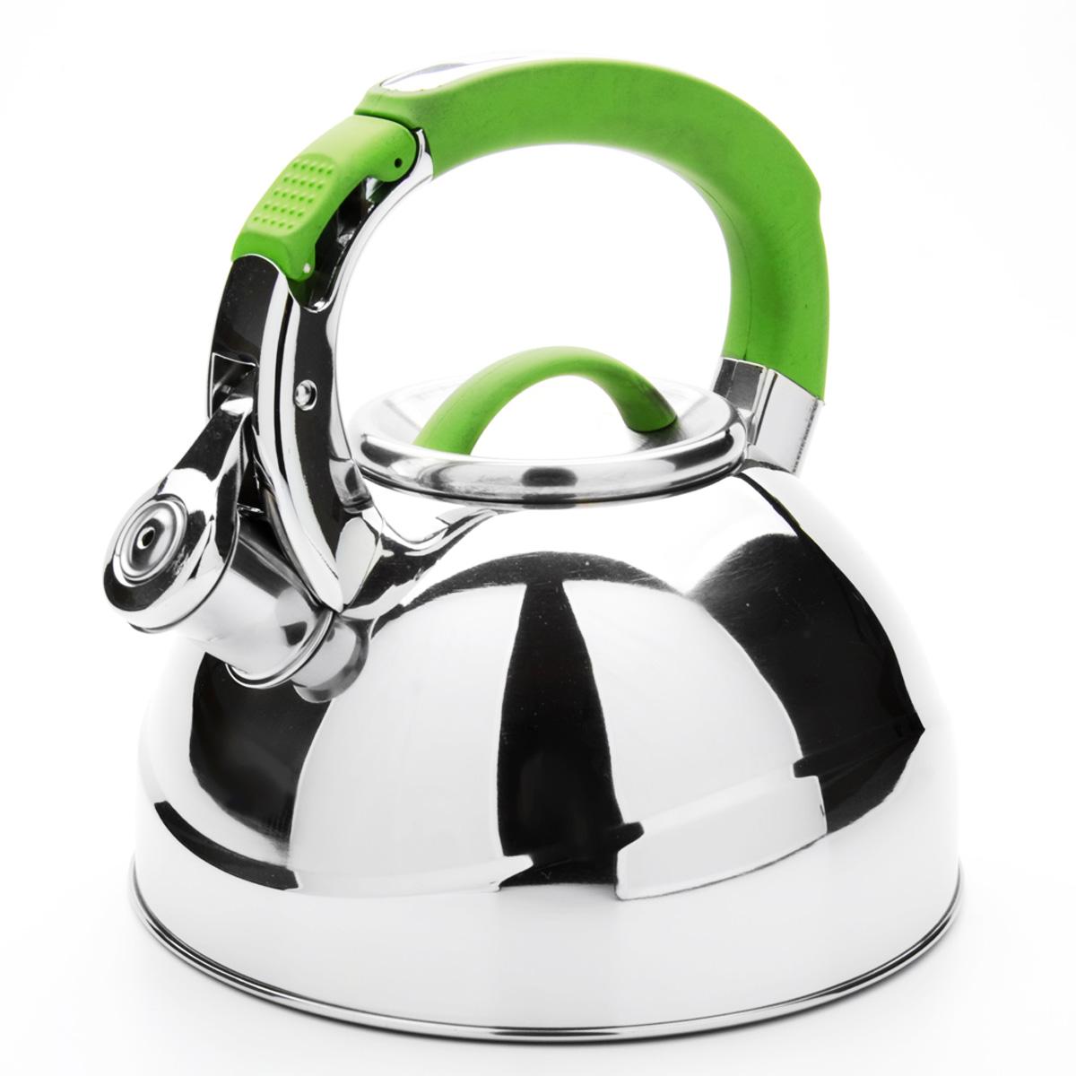 Чайник Mayer & Boch со свистком, цвет: зеленый, 2,7 л. 2358823588Чайник Mayer & Boch выполнен из высококачественной нержавеющей стали, что обеспечивает долговечность использования. Внешнее зеркальное покрытие придает приятный внешний вид. Фиксированная ручка из нейлона делает использование чайника очень удобным и безопасным. Чайник снабжен свистком и устройством для открывания носика, которое находится на ручке. Можно мыть в посудомоечной машине. Пригоден для всех видов плит, включая индукционные.