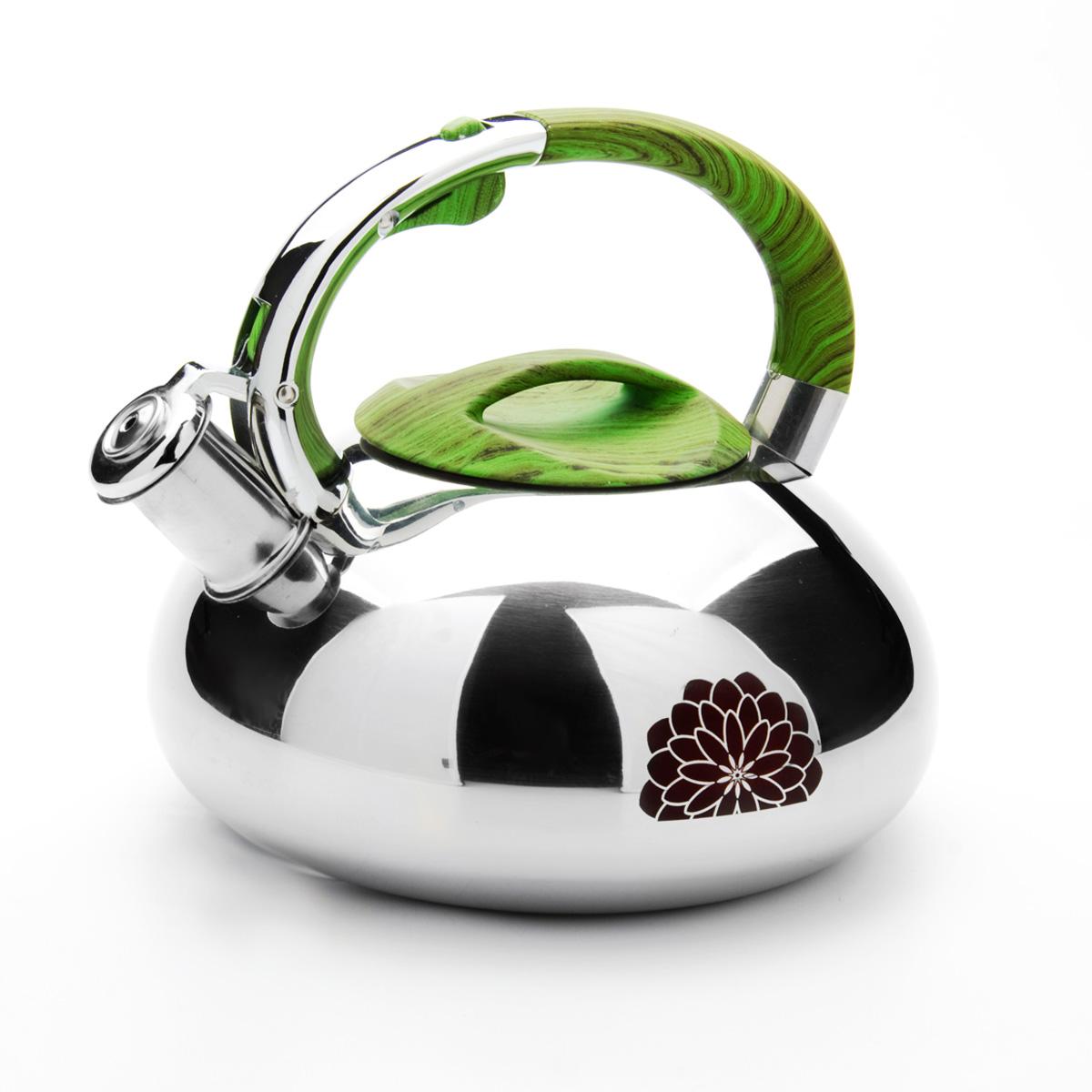 Чайник Mayer & Boch, со свистком, 2,9 л. 2358923589Чайник Mayer & Boch выполнен из зеркальной нержавеющей стали высокой прочности. Чайник оснащен откидным свистком, который громко оповестит о закипании воды. Удобная эргономичная ручка и крышка выполнены из нейлона. Такой чайник идеально впишется в интерьер любой кухни и станет замечательным подарком к любому случаю. Подходит для всех типов плит, включая индукционные. Можно мыть в посудомоечной машине. Диаметр чайника по верхнему краю: 10 см. Диаметр индукционного диска: 17 см. Высота чайника (с учетом ручки): 20 см.