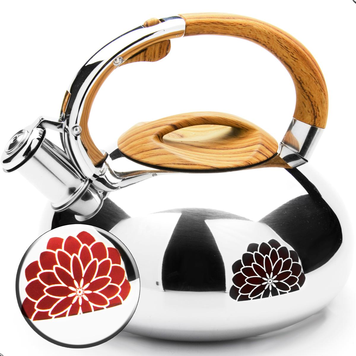 Чайник Mayer & Boch, со свистком, цвет: коричневый, 2,9 л. 2359023590Чайник Mayer & Boch выполнен из зеркальной нержавеющей стали высокой прочности. Чайник оснащен откидным свистком, который громко оповестит о закипании воды. Удобная эргономичная ручка и крышка выполнены из нейлона. Такой чайник идеально впишется в интерьер любой кухни и станет замечательным подарком к любому случаю. Подходит для всех типов плит, включая индукционные. Можно мыть в посудомоечной машине.
