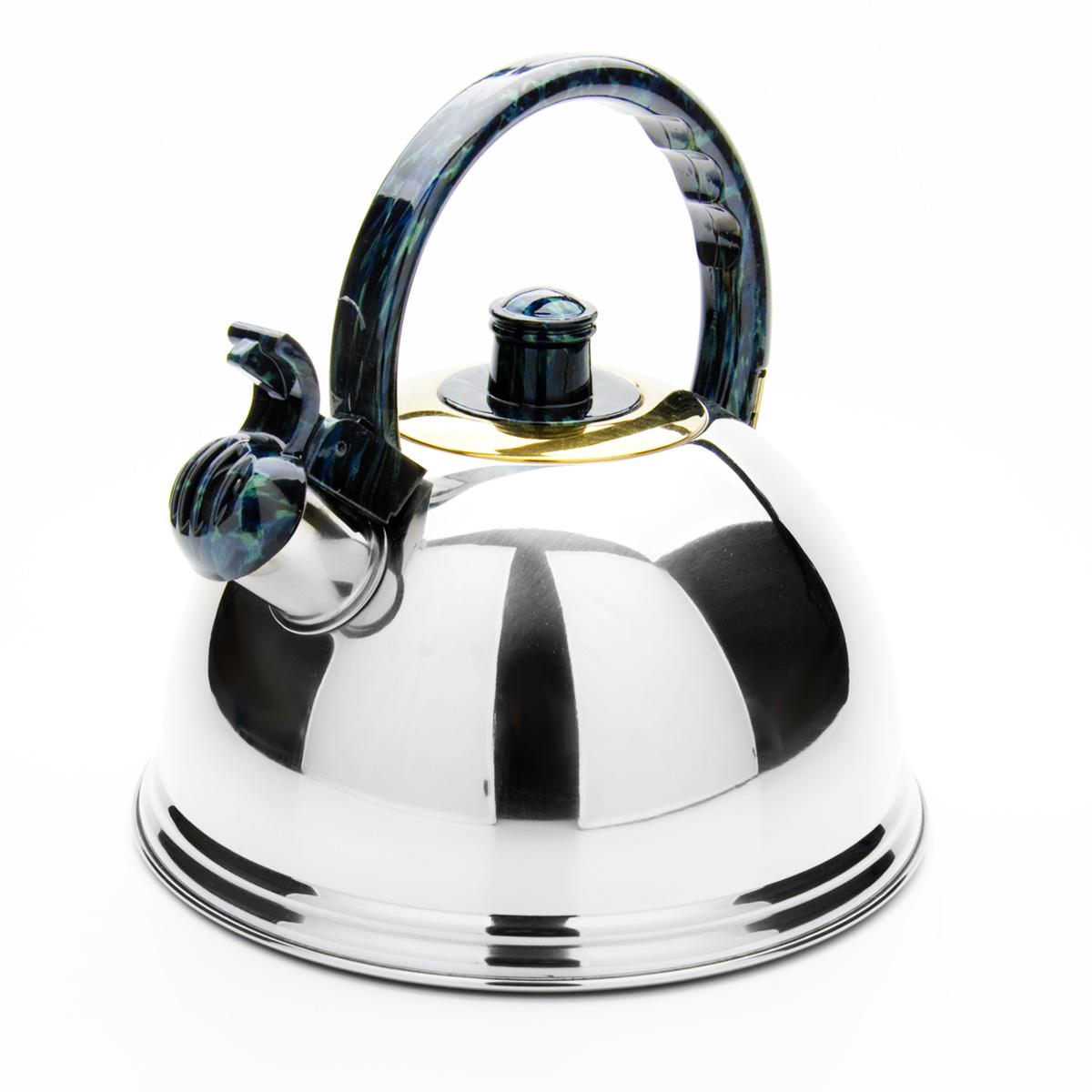 Чайник Mayer & Boch, со свистком, цвет: зеленый, синий, 2,7 л. 2359423594Чайник Mayer & Boch выполнен из нержавеющей стали высокой прочности с зеркальной полировкой. Чайник оснащен откидным свистком, который громко оповестит о закипании воды. Удобная эргономичная ручка и крышка выполнены из нейлона. Такой чайник идеально впишется в интерьер любой кухни и станет замечательным подарком к любому случаю. Подходит для всех типов плит, кроме индукционных. Можно мыть в посудомоечной машине. Диаметр чайника по верхнему краю: 8,5 см. Высота чайника (с учетом ручки): 21 см.