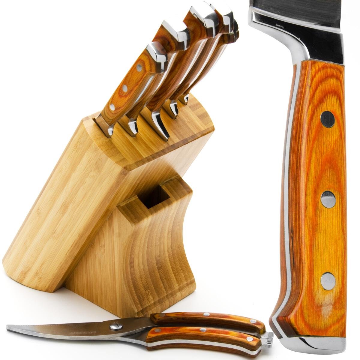 Набор ножей Mayer & Boch, цвет: коричневый, 7 предметов. 2362323623Набор ножей Mayer & Boch состоит из 5 ножей, ножниц и поставки. Ножи и ножницы выполнены из нержавеющей стали, ручки из дерева. Деревянная подставка поможет хранить все ножи в одном месте. Оригинальный набор ножей великолепно украсит интерьер кухни и станет замечательным помощником. Можно мыть в посудомоечной машине. Длина лезвия поварского ножа: 20,3 см. Общая длина поварского ножа: 33 см. Длина лезвия хлебного ножа: 20,3 см. Общая длина хлебного ножа: 33 см. Длина лезвия разделочного ножа: 20,3 см. Общая длина разделочного ножа: 33 см. Длина лезвия универсального ножа: 12,7 см. Общая длина универсального ножа: 24 см. Длина лезвия ножа для очистки: 8,9 см. Общая длина ножа для очистки: 20 см. Длина лезвий ножниц: 8,5 см. Размер ножниц: 25 см х 5,5 см х 2 см. Размер подставки: 15 см х 13 см х 22 см.