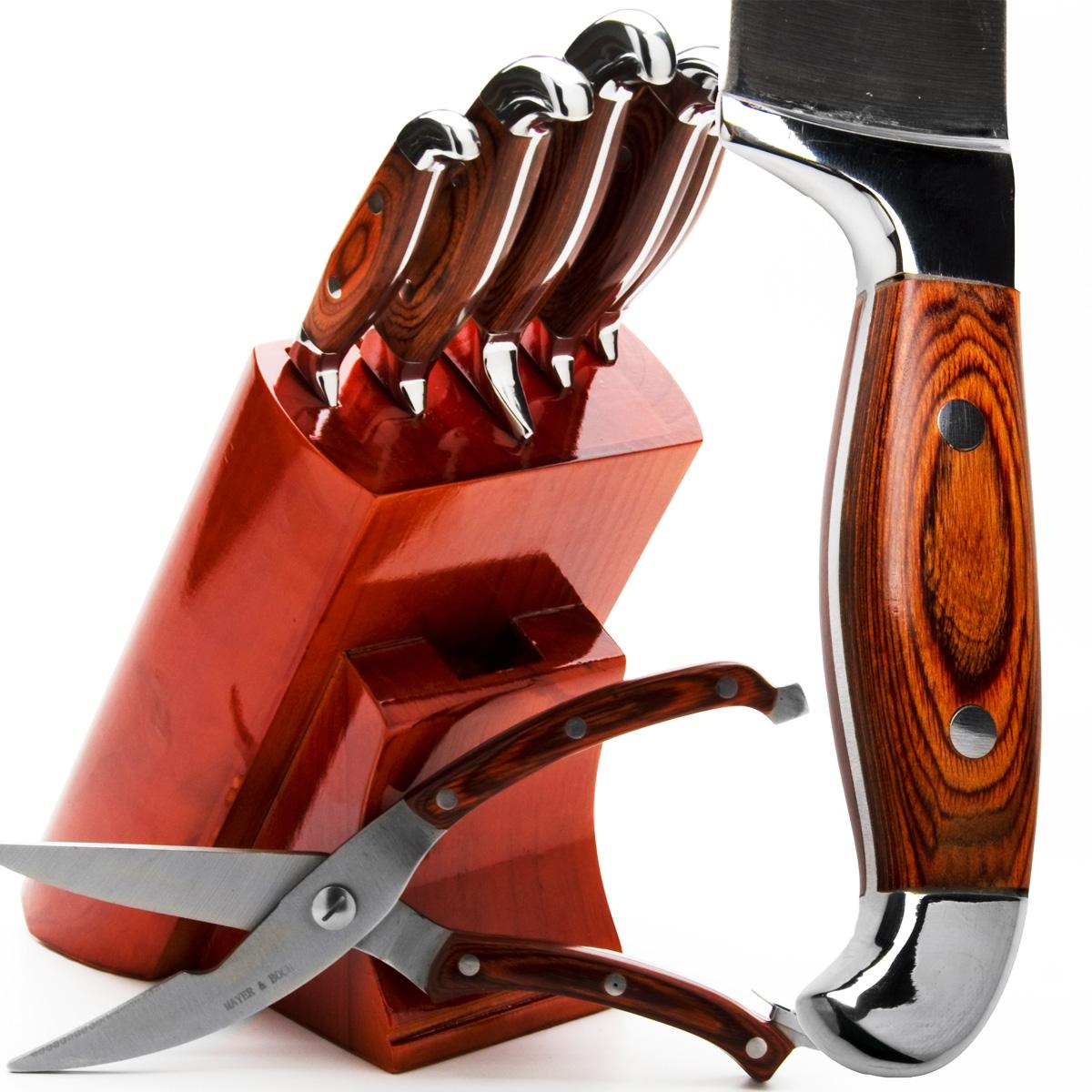 Набор ножей Mayer & Boch, 7 предметов. 2362423624Набор ножей Mayer & Boch состоит из 5 ножей, ножниц и подставки. Ножи и ножницы выполнены из нержавеющей стали, ручки из дерева. Удобная деревянная подставка поможет хранить все ножи в одном месте. Оригинальный набор ножей великолепно украсит интерьер кухни и станет замечательным помощником. Можно мыть в посудомоечной машине. Длина лезвия поварского ножа: 20,3 см. Общая длина поварского ножа: 33 см. Длина лезвия хлебного ножа: 20,3 см. Общая длина хлебного ножа: 33 см. Длина лезвия разделочного ножа: 20,3 см. Общая длина разделочного ножа: 33 см. Длина лезвия универсального ножа: 12,7 см. Общая длина универсального ножа: 24 см. Длина лезвия ножа для очистки: 8,9 см. Общая длина ножа для очистки: 20 см. Длина лезвия ножниц: 9 см. Размер ножниц: 26 см х 5 см х 2 см. Размер подставки: 16,5 см х 13 см х 22 см.