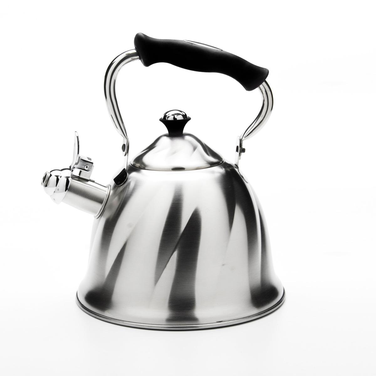 Чайник Mayer & Boch со свистком, цвет: черный, 3 л. 2377323773Чайник Mayer & Boch выполнен из высококачественной нержавеющей стали, что обеспечивает долговечность использования. Внешнее матовое покрытие придает приятный внешний вид. Подвижная ручка из бакелита делает использование чайника очень удобным и безопасным. Чайник снабжен свистком и устройством для открывания носика. Можно мыть в посудомоечной машине. Пригоден для всех видов плит, кроме индукционных. Высота чайника (без учета крышки и ручки): 13 см. Диаметр основания: 21 см.