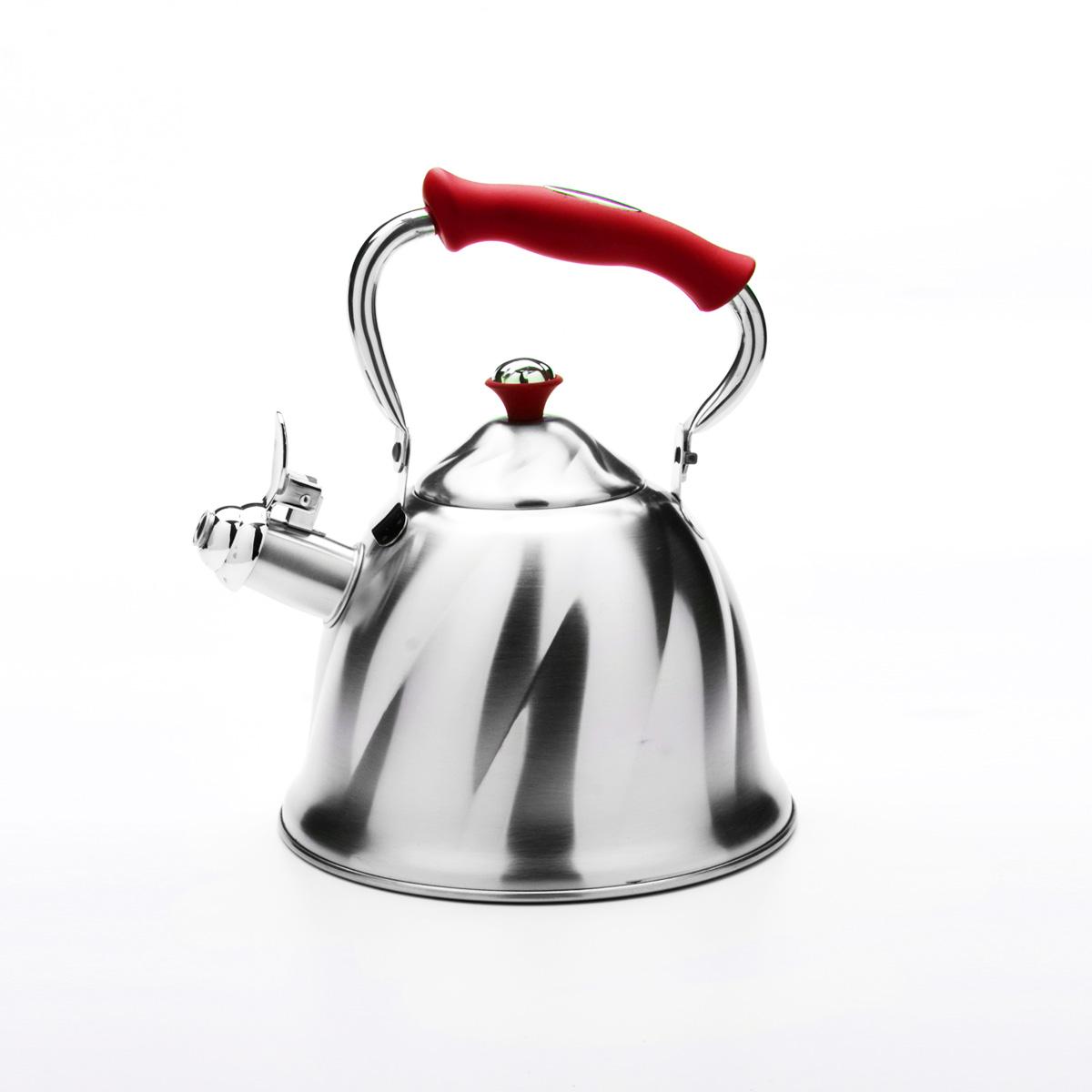 Чайник Mayer & Boch со свистком, цвет: красный, 3 л. 2377623776Чайник Mayer & Boch выполнен из высококачественной нержавеющей стали, что обеспечивает долговечность использования. Внешнее матовое покрытие придает приятный внешний вид. Фиксированная ручка из бакелита делает использование чайника очень удобным и безопасным. Чайник снабжен свистком и устройством для открывания носика. Можно мыть в посудомоечной машине. Пригоден для всех видов плит, кроме индукционных. Высота чайника (без учета крышки и ручки): 13 см. Диаметр основания: 21 см.