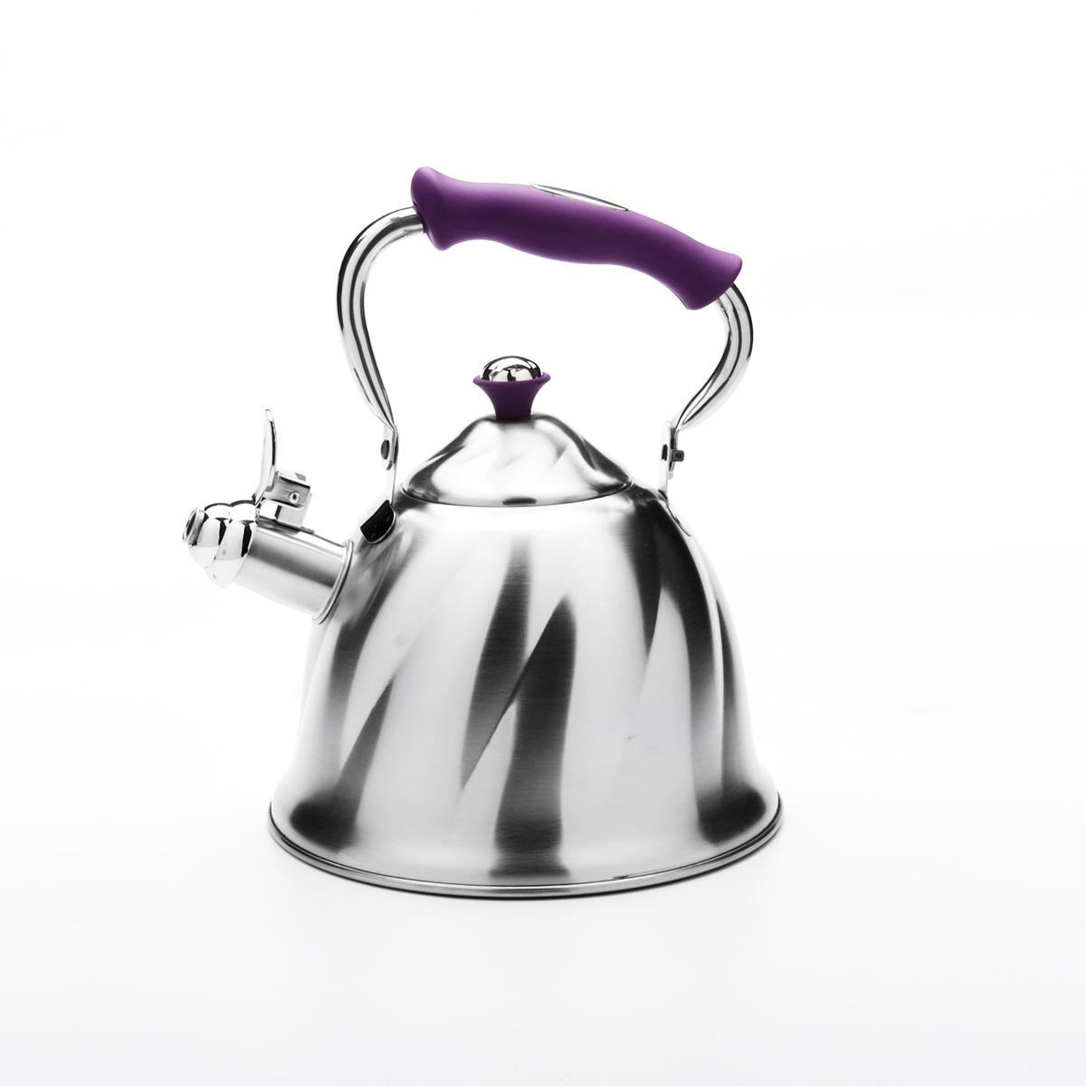 Чайник Mayer & Boch со свистком, цвет: фиолетовый, 3 л. 2377723777Чайник Mayer & Boch выполнен из высококачественной нержавеющей стали, что обеспечивает долговечность использования. Внешнее матовое покрытие придает приятный внешний вид. Фиксированная ручка из бакелита делает использование чайника очень удобным и безопасным. Чайник снабжен свистком и устройством для открывания носика. Можно мыть в посудомоечной машине. Пригоден для всех видов плит, кроме индукционных. Высота чайника (без учета крышки и ручки): 13 см. Диаметр основания: 21 см.