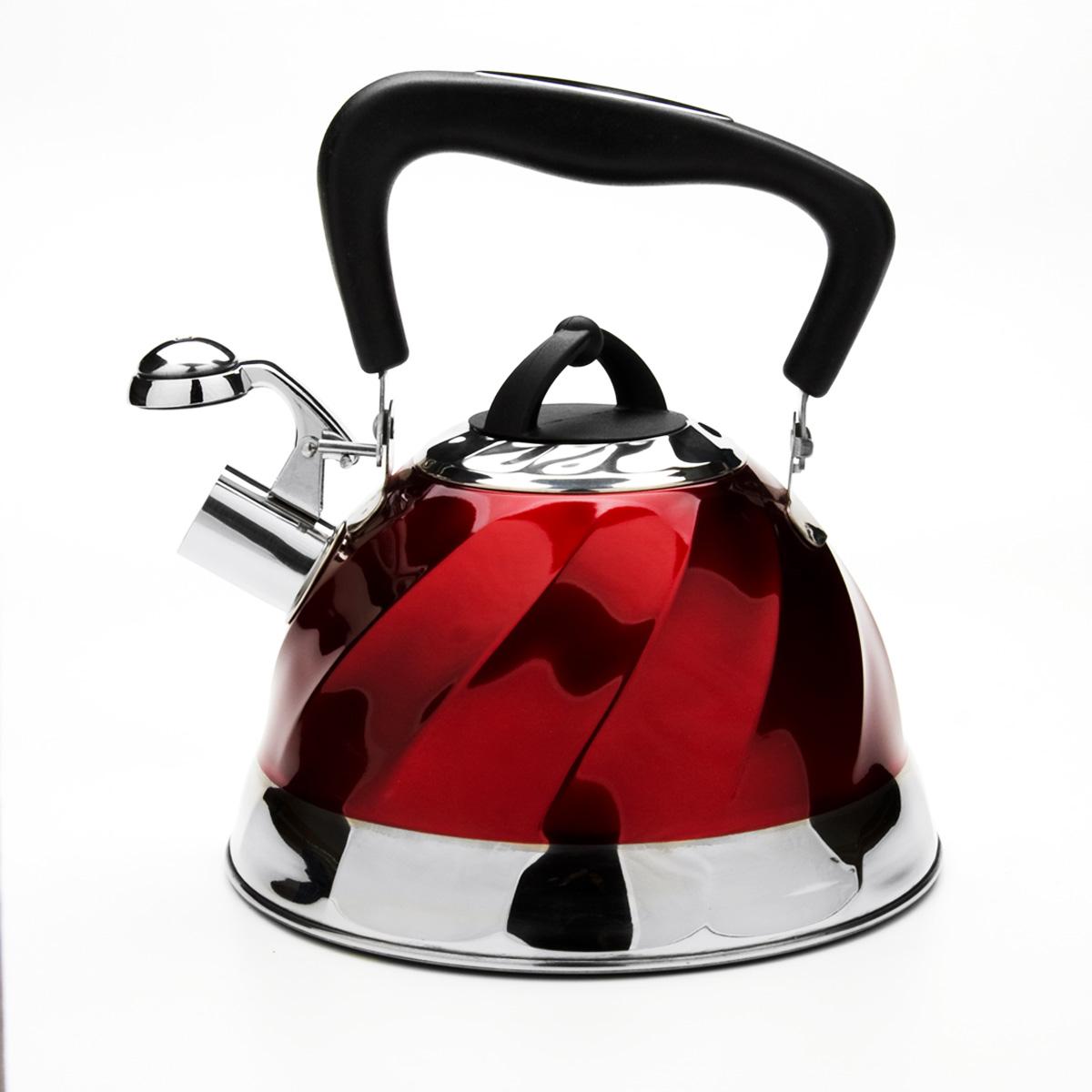 Чайник Mayer & Boch со свистком, цвет: красный, 3 л. 2378423784Чайник Mayer & Boch выполнен из высококачественной нержавеющей стали, что обеспечивает долговечность использования. Внешнее цветное эмалевое покрытие придает приятный внешний вид. Подвижная ручка из бакелита делает использование чайника очень удобным и безопасным. Чайник снабжен свистком и устройством для открывания носика. Можно мыть в посудомоечной машине. Пригоден для всех видов плит, кроме индукционных.