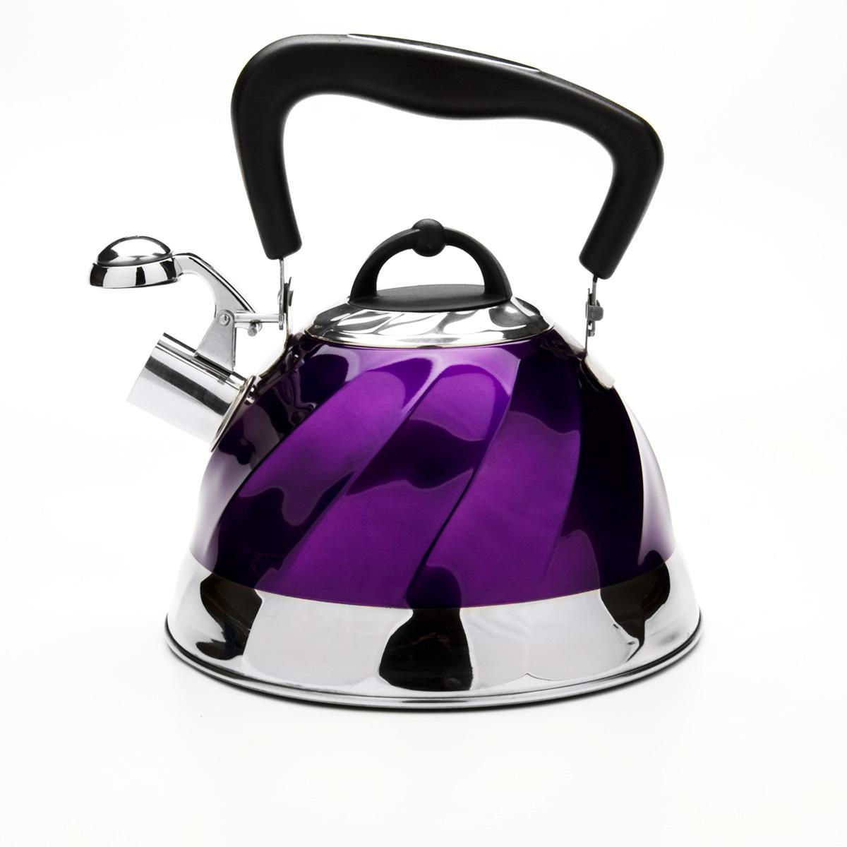 Чайник Mayer & Boch со свистком, цвет: фиолетовый, 3 л. 2378523785Чайник Mayer & Boch выполнен из высококачественной нержавеющей стали, что обеспечивает долговечность использования. Внешнее цветное эмалевое покрытие придает приятный внешний вид. Подвижная ручка из бакелита делает использование чайника очень удобным и безопасным. Чайник снабжен свистком и устройством для открывания носика. Можно мыть в посудомоечной машине. Пригоден для всех видов плит, кроме индукционных.