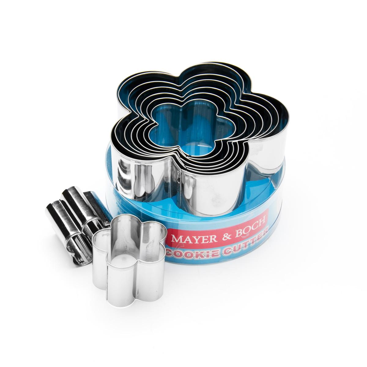 Набор форм для вырезания Mayer & Boch, 9 шт. 2400124001Набор Mayer & Boch состоит из девяти форм для вырезания, выполненных из высококачественной нержавеющей стали. С такими формами для вырезания будет легко сделать забавные украшения и формы для вашего торта или кексов. Просто раскатайте мастику или тесто, и вырезайте! Можно мыть в посудомоечной машине. Диаметр форм: 11,5 см; 10,5 см; 9,5 см; 8,5 см; 7,5 см; 6,5 см; 5,5 см; 4,5 см; 3,5 см. Высота форм: 3,7 см.