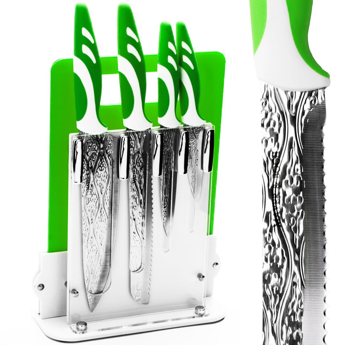 Набор ножей Mayer & Boch, 6 предметов. 2413324133Набор ножей Mayer & Boch состоит из 4 ножей, разделочной доски и подставки. Ножи выполнены из нержавеющей стали, ручки из полипропилена и каучука. Удобная акриловая подставка поможет хранить ножи в одном месте. Разделочная доска изготовлена из полипропилена и прекрасно подойдет для резки любых продуктов. Оригинальный набор ножей великолепно украсит интерьер кухни и станет замечательным помощником. Можно мыть в посудомоечной машине. Длина лезвия поварского ножа: 20,3 см. Общая длина поварского ножа: 33 см. Длина лезвия хлебного ножа: 20,3 см. Общая длина хлебного ножа: 33 см. Длина лезвия универсального ножа: 12,7 см. Общая длина универсального ножа: 24 см. Длина лезвия ножа для очистки: 8,9 см. Общая длина ножа для очистки: 20 см. Размер подставки (ДхШхВ): 21 см х 9 см х 22 см. Размер разделочной доски: 28,8 см х 19 см х 0,5 см.
