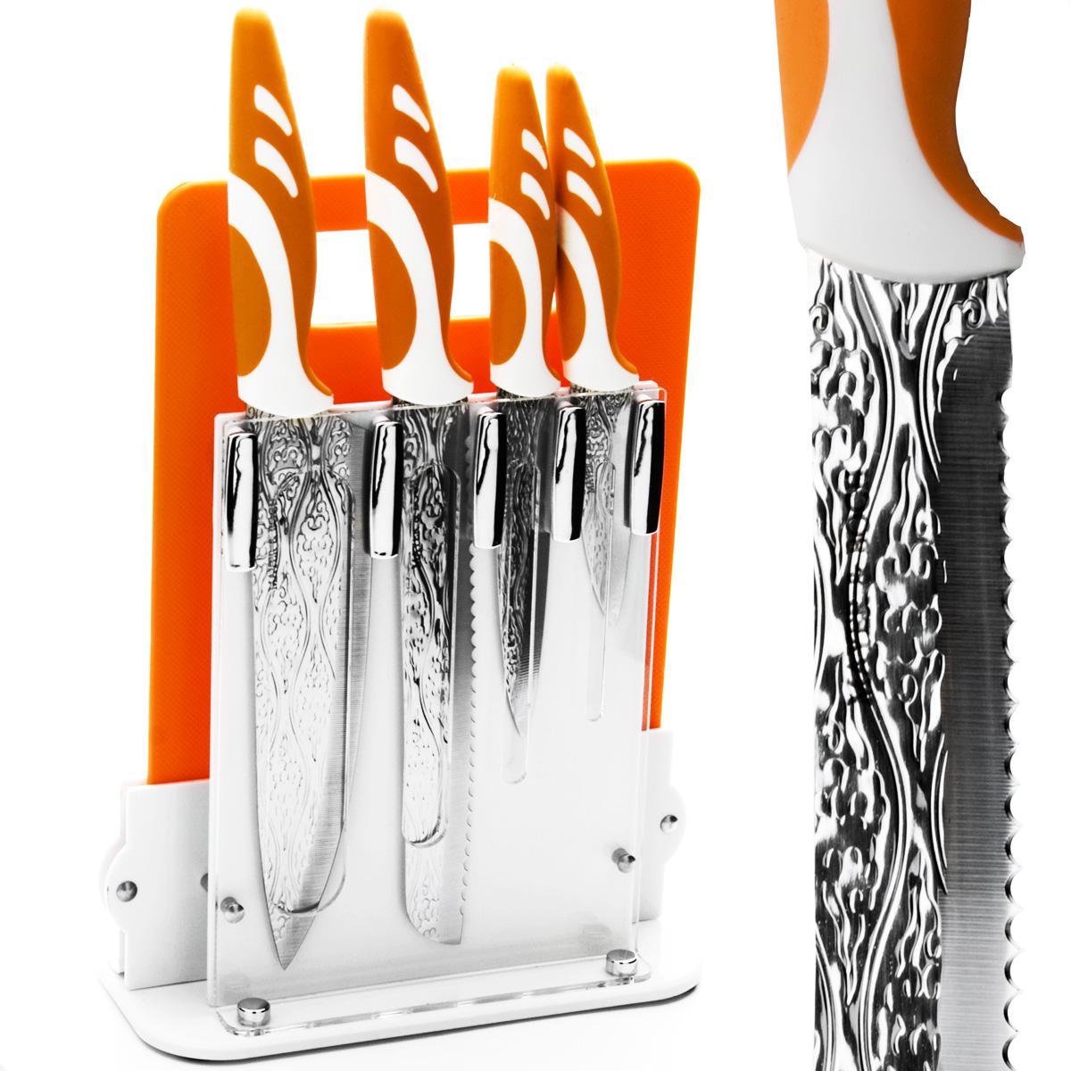 Набор ножей Mayer & Boch, 6 предметов. 2413424134Набор ножей Mayer & Boch состоит из 4 ножей (поварского, хлебного, универсального, для очистки), разделочной доски и подставки. Ножи выполнены из нержавеющей стали, ручки из полипропилена и каучука. Удобная акриловая подставка поможет хранить ножи в одном месте. Разделочная доска изготовлена из полипропилена и прекрасно подойдет для резки любых продуктов. Оригинальный набор ножей великолепно украсит интерьер кухни и станет замечательным помощником. Можно мыть в посудомоечной машине. Длина лезвия поварского ножа: 20,3 см. Общая длина поварского ножа: 33 см. Длина лезвия хлебного ножа: 20,3 см. Общая длина хлебного ножа: 33 см. Длина лезвия универсального ножа: 12,7 см. Общая длина универсального ножа: 24 см. Длина лезвия ножа для очистки: 8,9 см. Общая длина ножа для очистки: 20 см. Размер подставки (ДхШхВ): 21 см х 9 см х 22 см. Размер разделочной доски: 28,8 см х 19 см х 0,5 см.