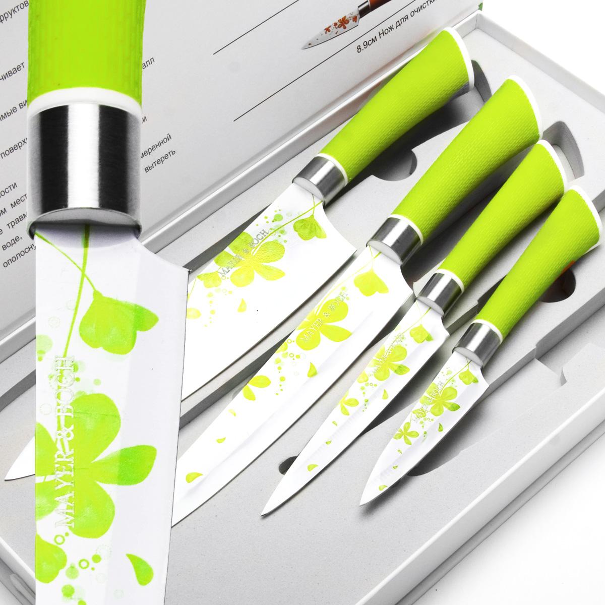 Набор ножей Mayer & Boch, цвет: зеленый, 4 шт. 2414224142Набор ножей Mayer & Boch состоит из 4 ножей: нож поварской, нож универсальный, нож разделочный и нож для очистки. Ножи выполнены из нержавеющей стали, ручки из полипропилена. Оригинальный набор ножей великолепно украсит интерьер кухни и станет замечательным помощником. Можно мыть в посудомоечной машине. Длина лезвия поварского ножа: 20,3 см. Общая длина поварского ножа: 33 см. Длина лезвия разделочного ножа: 20,3 см. Общая длина разделочного ножа: 33 см. Длина лезвия универсального ножа: 12,8 см. Общая длина универсального ножа: 24 см. Длина лезвия ножа для очистки: 8,9 см. Общая длина ножа для очистки: 20 см.
