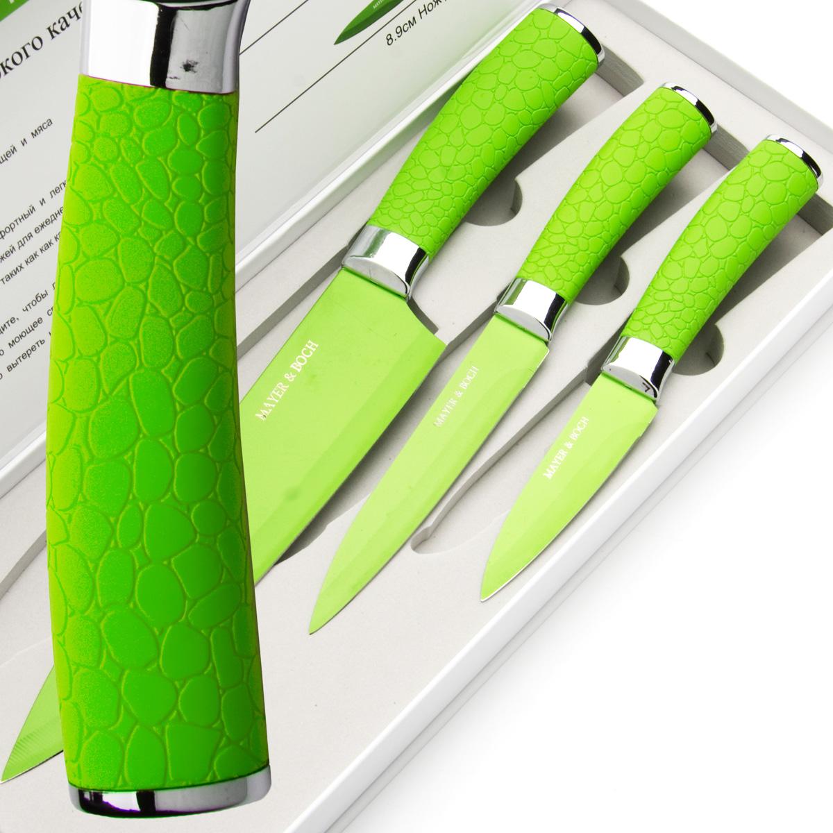 Набор ножей Mayer & Boch, цвет: зеленый, 3 шт. 2414524145Набор ножей Mayer & Boch состоит из 3 ножей: нож поварской, нож универсальный и нож для очистки. Ножи выполнены из нержавеющей стали, ручки из полипропилена. Оригинальный набор ножей великолепно украсит интерьер кухни и станет замечательным помощником. Можно мыть в посудомоечной машине. Длина лезвия поварского ножа: 20,3 см. Общая длина поварского ножа: 33 см. Длина лезвия универсального ножа: 12,7 см. Общая длина универсального ножа: 24 см. Длина лезвия ножа для очистки: 8,9 см. Общая длина ножа для очистки: 20 см.