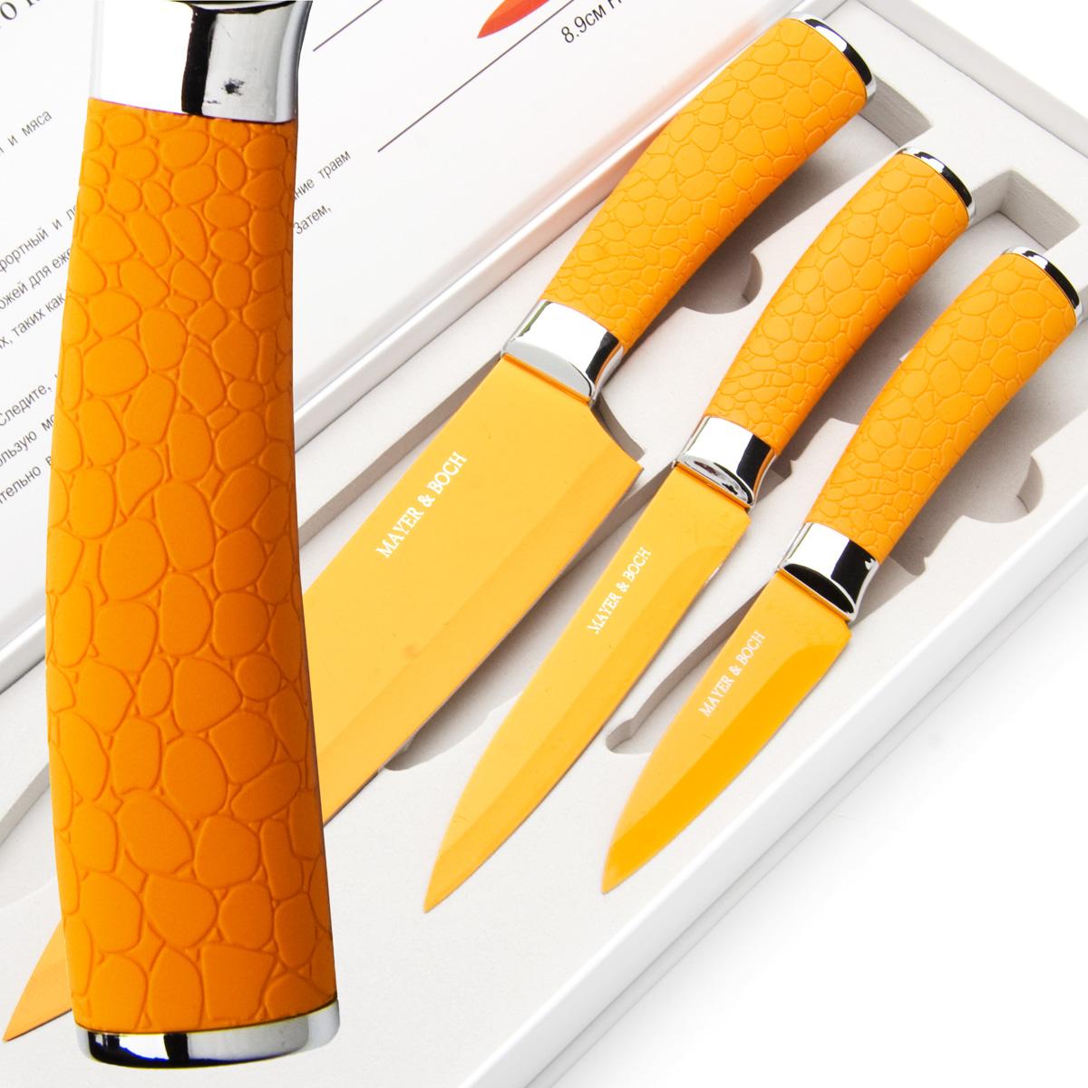 Набор ножей Mayer & Boch, цвет: оранжевый, 3 шт. 2414624146Набор ножей Mayer & Boch состоит из 3 ножей: нож поварской, нож универсальный и нож для очистки. Ножи выполнены из нержавеющей стали, ручки из полипропилена. Оригинальный набор ножей великолепно украсит интерьер кухни и станет замечательным помощником. Можно мыть в посудомоечной машине. Длина лезвия поварского ножа: 20,3 см. Общая длина поварского ножа: 33 см. Длина лезвия универсального ножа: 12,7 см. Общая длина универсального ножа: 24 см. Длина лезвия ножа для очистки: 8,9 см. Общая длина ножа для очистки: 20 см.