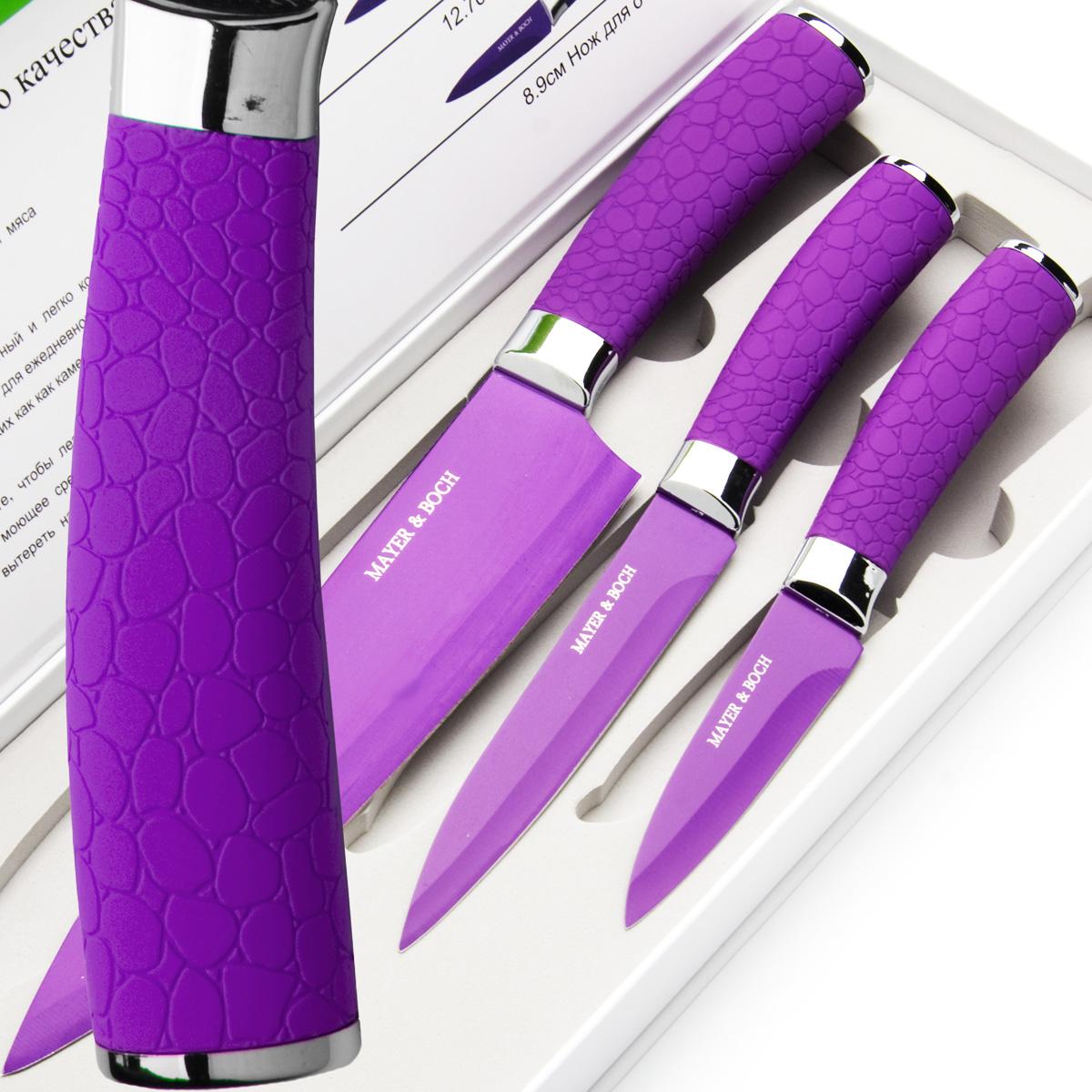 Набор ножей Mayer & Boch, цвет: фиолетовый, 3 шт. 2414724147Набор ножей Mayer & Boch состоит из 3 ножей: нож поварской, нож универсальный и нож для очистки. Ножи выполнены из нержавеющей стали, ручки из полипропилена. Оригинальный набор ножей великолепно украсит интерьер кухни и станет замечательным помощником. Можно мыть в посудомоечной машине. Длина лезвия поварского ножа: 20,3 см. Общая длина поварского ножа: 33 см. Длина лезвия универсального ножа: 12,7 см. Общая длина универсального ножа: 24 см. Длина лезвия ножа для очистки: 8,9 см. Общая длина ножа для очистки: 20 см.