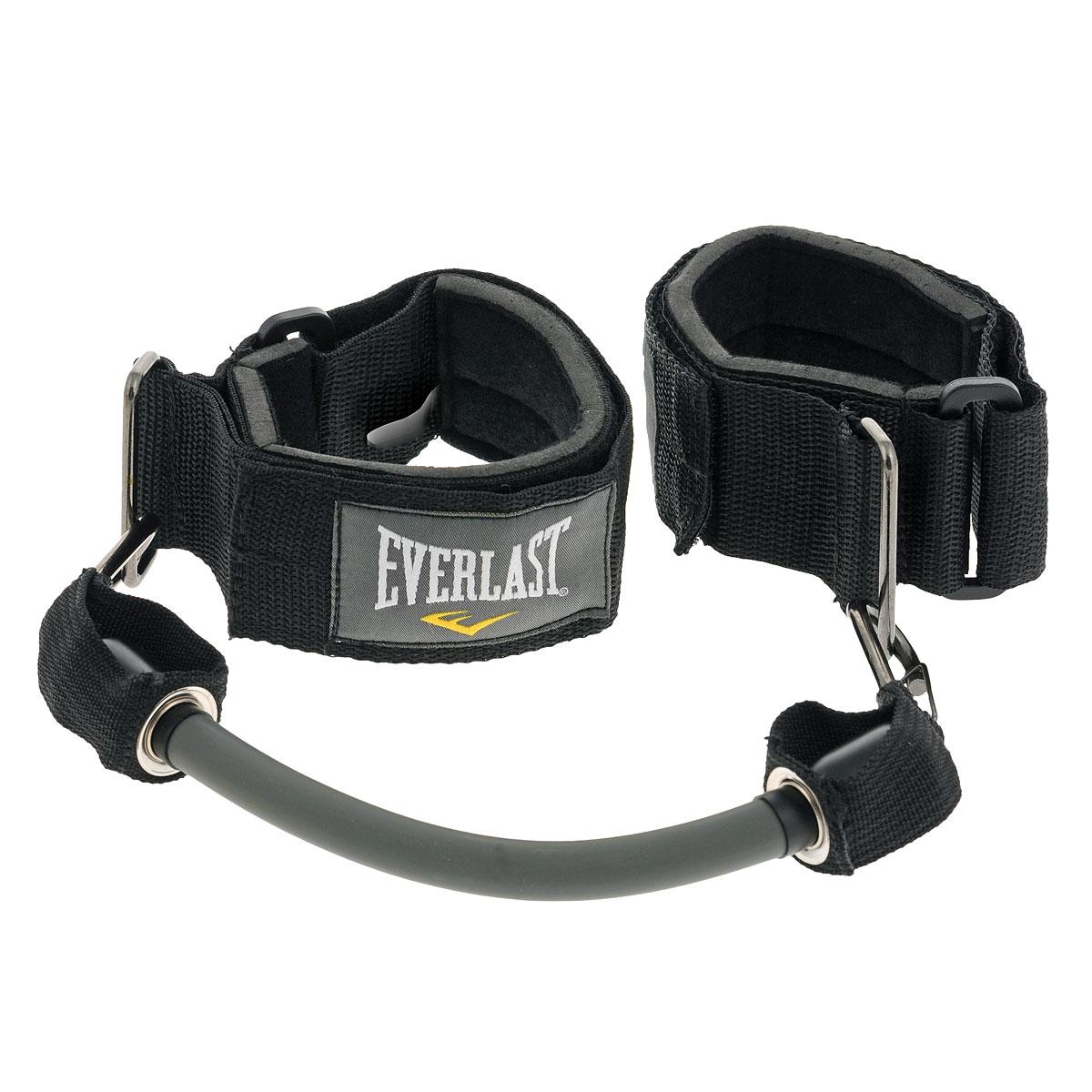 Эспандер для ног Everlast Ankle Resistance, цвет: черный6350RGEverlast Ankle Resistance - эспандер для тренировки ног, который пригодится не только боксерам, но и фитнес-спортсменам. Мягкие манжеты с регулировкой длины гарантируют комфортную тренировку, а сменные жгуты позволяют варьировать нагрузку в зависимости от целей или уровня подготовки. Красный жгут обеспечивает сопротивление до 7 кг и предназначен для отработки техники ударов коленом и ногой. Серый жгут повышает сопротивление до 11 кг и идеален для того, чтобы совершенствовать стойку.
