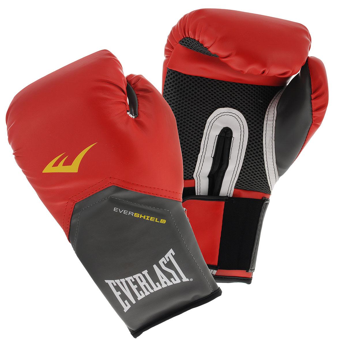 Перчатки тренировочные Everlast Pro Style Elite, цвет: красный, 12 унций2112EEverlast Pro Style Elite - тренировочные боксерские перчатки для спаррингов и работы на снарядах. Изготовлены из качественной искусственной кожи с применением технологий Everlast, использующихся в экипировке профессиональных спортсменов. Благодаря выверенной анатомической форме перчатки надежно фиксируют руку и гарантируют защиту от травм. Нижняя часть, полностью изготовленная из сетчатого материала, обеспечивает циркуляцию воздуха и препятствует образованию влаги, а также неприятного запаха за счет антибактериальной пропитки EVERFRESH. Комбинация легких дышащих материалов поддерживает оптимальную температуру тела. Модель подходит для начинающих боксеров, которые хотят тренироваться с экипировкой высокого класса.