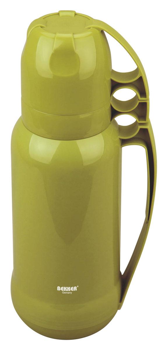 Термос Bekker Koch, цвет: зеленый, 1,8 лBK-4331Термос Bekker Koch со стеклянной колбой, чашка 2 шт., ручка.