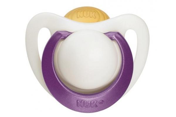Пустышка латексная NUK Genius, ортодонтическая, от 18 месяцев, цвет: белый, фиолетовый
