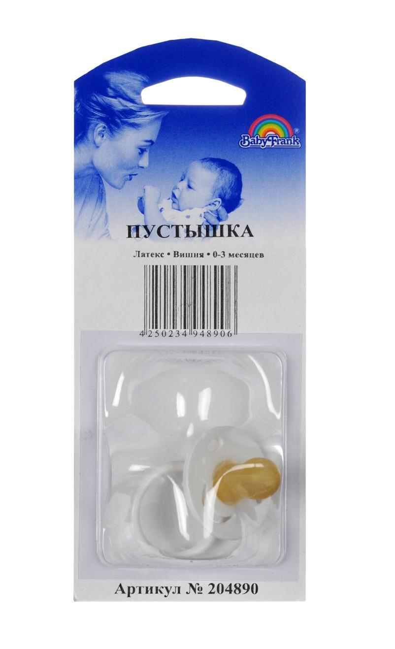 Пустышка латексная Baby-Frank, круглая, от 0 до 3 месяцев, цвет: белый