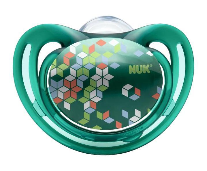 Пустышка силиконовая для сна NUK Freestyle, от 18 до 36 месяцев, ортодонтическая, цвет: зеленый