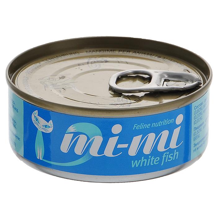 Консервы для кошек и котят Mi-Mi, с белой рыбой, 80 г15840Консервы Mi-Mi изготовлены только из натуральных продуктов с добавлением минеральных веществ и витаминов в необходимой пропорции. Не содержат красителей и ароматизаторов. Идеально сбалансированный состав позволяет применять консервы Mi-Mi для кормления самых требовательных и проблемных кошек, в том числе и для бесшерстных пород. Способствует профилактике мочекаменной болезни за счет сбалансированного минерального состава и pH-контроля. Содержат высокую концентрацию таурина, оказывающего благотворное действие на зрение и сердце. Состав: филе тунца (47,4%), белая рыба (3,6%), загуститель (1,2%), яичный порошок (0,10%), куриный бульон (47,69%), витамин Е (0,01%). Пищевая ценность: протеин (12%), жир (0,50%), зола (3%), клетчатка (1%), влажность (85%). Энергетическая ценность: не менее 46 ккал / 100 г. Товар сертифицирован.
