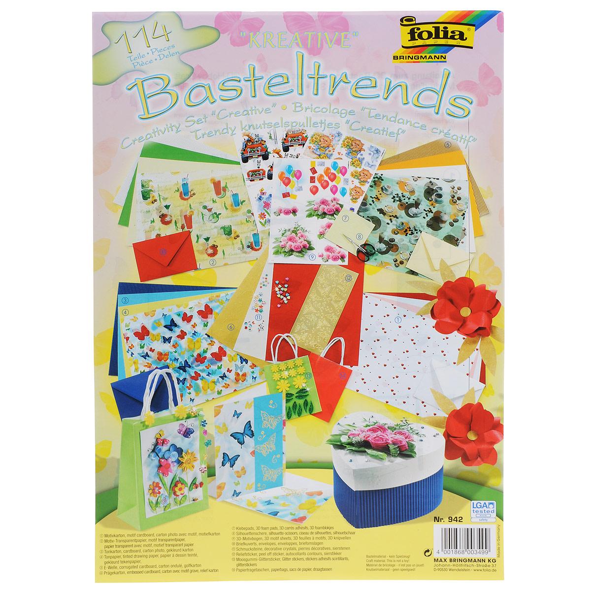 Набор для творчества Folia Креатив, 114 предметов7708139Набор для творчества Folia Креатив из 114 предметов позволит вашему ребенку создавать всевозможные аппликации и поделки. В набор входит: - 4 листа картона с рисунком 25 см х 35 см, - 3 листа кальки с разными сюжетами 25 см х 35 см, - 4 листа цветного картона 25 см х 35 см, - 4 листа цветной бумаги 25 см х 35 см, - 4 листа цветного гофрокартона 25 см х 35 см, - 3 листа картона 24 см х 34 см, - ножницы, - 400 квадратиков белого двустороннего скотча, - 3 листа 3D наклеек с разными картинками, - 60 декоративных камней, - 4 конверта 11 см х 15,5 см, - 1 лист с наклейками «Бабочки», - 20 декоративных элементов с глиттером, - 2 пакета для декорирования 12 см х 5,5 см х 15 см. Работа с набором для творчества Folia Креатив развивает мелкую моторику, усидчивость, внимание, фантазию и творческие способности. С таким богатым материалом ваш ребенок сможет заниматься творчеством...