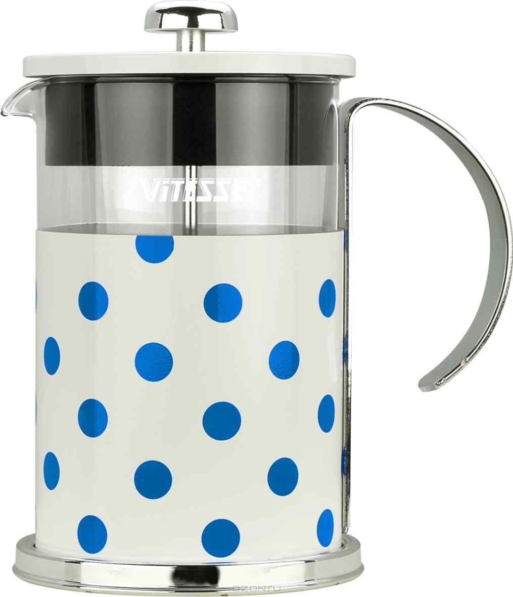 Кофеварка френч-пресс Vitesse, с мерной ложкой, цвет: голубой, 800 мл. VS-2623VS-2623Кофеварка Vitesse с фильтром френч-пресс поможет вам в приготовлении ароматного кофе. Колба френч-пресса Vitesse выполнена из термостойкого стекла, что позволяет наблюдать процесс настаивания и заваривания напитка, а также обеспечивает гигиеничность посуды. Внешний корпус, выполненный из нержавеющей стали с цветным изображением, долговечен, прочен и устойчив к деформации и образованию царапин. Френч-пресс имеет удобную ручку, носик, а так же мерную ложку, выполненную из пластика. Кофеварки предназначены для приготовления кофе методом настаивания и отжима. Вы также можете использовать френч-пресс для заваривания чая и различных трав. Уникальный дизайн полностью соответствует последним модным тенденциям в создании предметов бытовой техники. Можно использовать в посудомоечной машине.