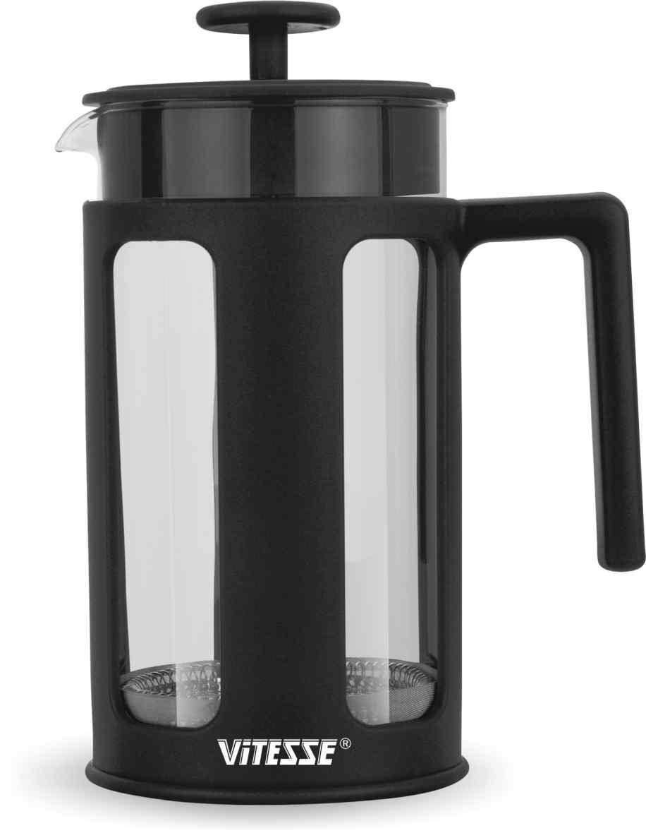 Кофеварка френч-пресс Vitesse, с мерной ложкой, цвет: черный, 1 л. VS-2621VS-2621Кофеварка Vitesse с фильтром френч-пресс поможет вам в приготовлении ароматного кофе. Колба френч-пресса Vitesse выполнена из термостойкого стекла, что позволяет наблюдать процесс настаивания и заваривания напитка, а также обеспечивает гигиеничность посуды. Внешний корпус, выполненный из пластика, долговечен, прочен и имеет термоизоляционные свойства. Френч-пресс имеет удобную пластиковую ручку, носик, а так же мерную ложку, выполненную из пластика. Кофеварки предназначены для приготовления кофе методом настаивания и отжима. Вы также можете использовать френч-пресс для заваривания чая и различных трав. Уникальный дизайн полностью соответствует последним модным тенденциям в создании предметов бытовой техники. Можно использовать в посудомоечной машине.