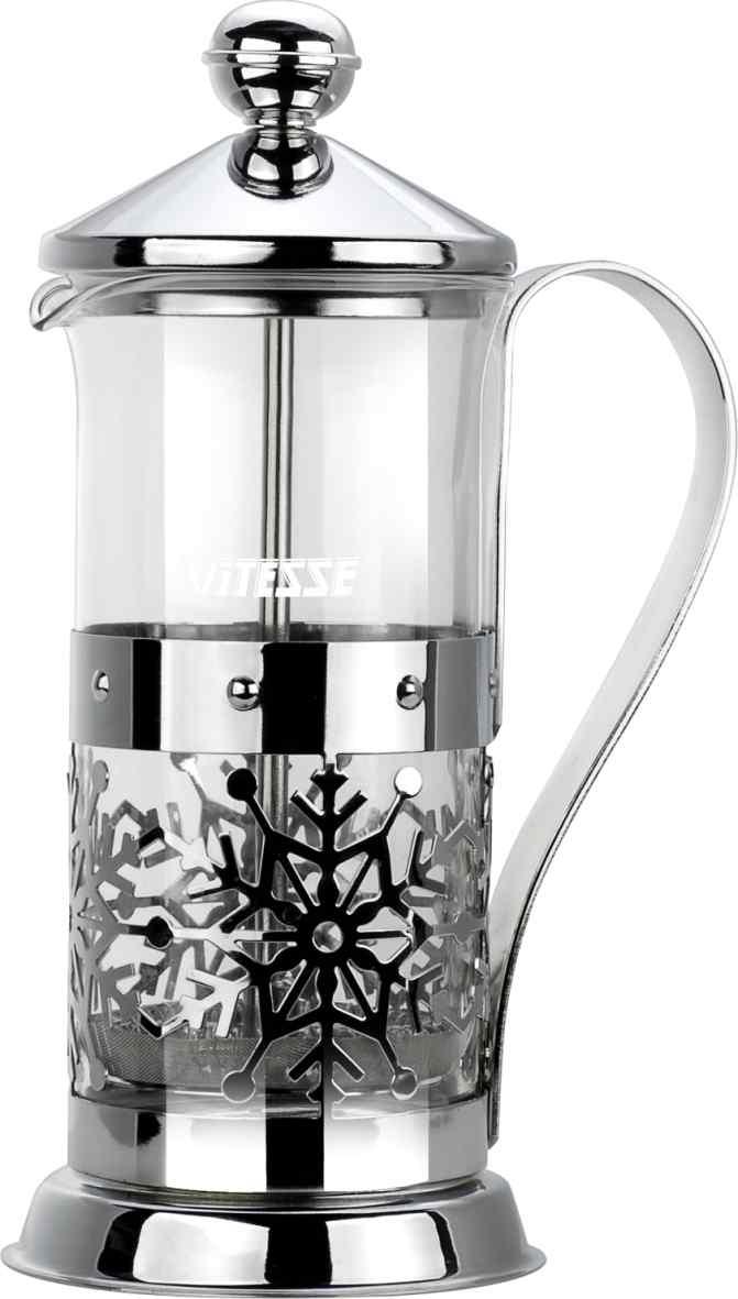 Кофеварка френч-пресс Vitesse, с мерной ложкой, 350 мл. VS-2614VS-2614Кофеварка Vitesse с фильтром френч-пресс поможет вам в приготовлении ароматного кофе. Колба френч-пресса Vitesse выполнена из термостойкого стекла, что позволяет наблюдать процесс настаивания и заваривания напитка, а также обеспечивает гигиеничность посуды. Внешний корпус, выполненный из нержавеющей стали, с дизайном в виде снежинок, долговечен, прочен и устойчив к деформациям и образованию царапин. Френч-пресс имеет удобную ручку, носик, а так же мерную ложку, выполненную из пластика. Кофеварки предназначены для приготовления кофе методом настаивания и отжима. Вы также можете использовать френч-пресс для заваривания чая и различных трав. Уникальный дизайн полностью соответствует последним модным тенденциям в создании предметов бытовой техники. Можно использовать в посудомоечной машине. Высота кофеварки (без учета крышки): 16 см. Размер кофеварки (с учетом крышки и ручки): 21 см х 12,5 см х 8,7 см. Диаметр основания: 8,7 см. ...