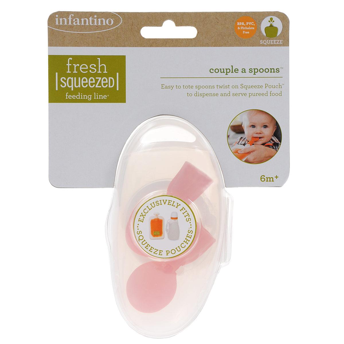 Ложечка для мягкой упаковки Infantino Couple a Spoons, цвет: оранжевый, 2 шт508-106Ложечка для мягкой упаковки Infantino Couple a Spoons позволит вам быстро и аккуратно накормить ребенка практически на ходу. Ложечка-насадка, выполненная из безопасного пластика без содержания бисфенола-А и поливинилхлорида, предназначена для малышей от 6 месяцев. Ложечка навинчивается прямо на носик мягких пакетиков Squeeze Pouches и бутылочки Infantino. В основании ложки имеется отверстие, через которое в нее легко выдавливается содержимое пакетика. В комплекте 2 ложки-насадки, упакованные в пластиковый футляр для хранения и транспортировки. Чехол снабжен съемной клипсой-застежкой, с помощью которой его можно прикрепить к сумке, коляске или автокреслу. Подходят для использования в посудомоечной машине.
