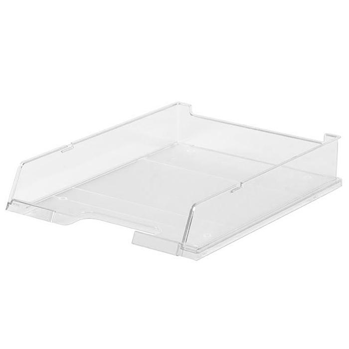 Лоток для бумаг горизонтальный HAN C4, прозрачный, цвет: белыйHA1020/23Горизонтальный лоток для бумаг HAN C4 предназначен для хранения бумаг и документов формата А4. Лоток с оригинальным дизайном корпуса поможет вам навести порядок на столе и сэкономить пространство. Лоток изготовлен из экологически чистого прозрачного антистатического пластика. Приподнятая фронтальная часть лотка облегчает изъятие документов из накопителя. Лоток имеет пластиковые ножки, предотвращающие скольжение по столу. Также лоток оснащен небольшим прозрачным окошком для этикетки. Лоток для бумаг станет незаменимым помощником для работы с бумагами дома или в офисе, а его стильный дизайн впишется в любой интерьер. Благодаря лотку для бумаг, важные бумаги и документы всегда будут под рукой. Несколько лотков можно ставить друг на друга, один в другой и друг на друга со смещением.