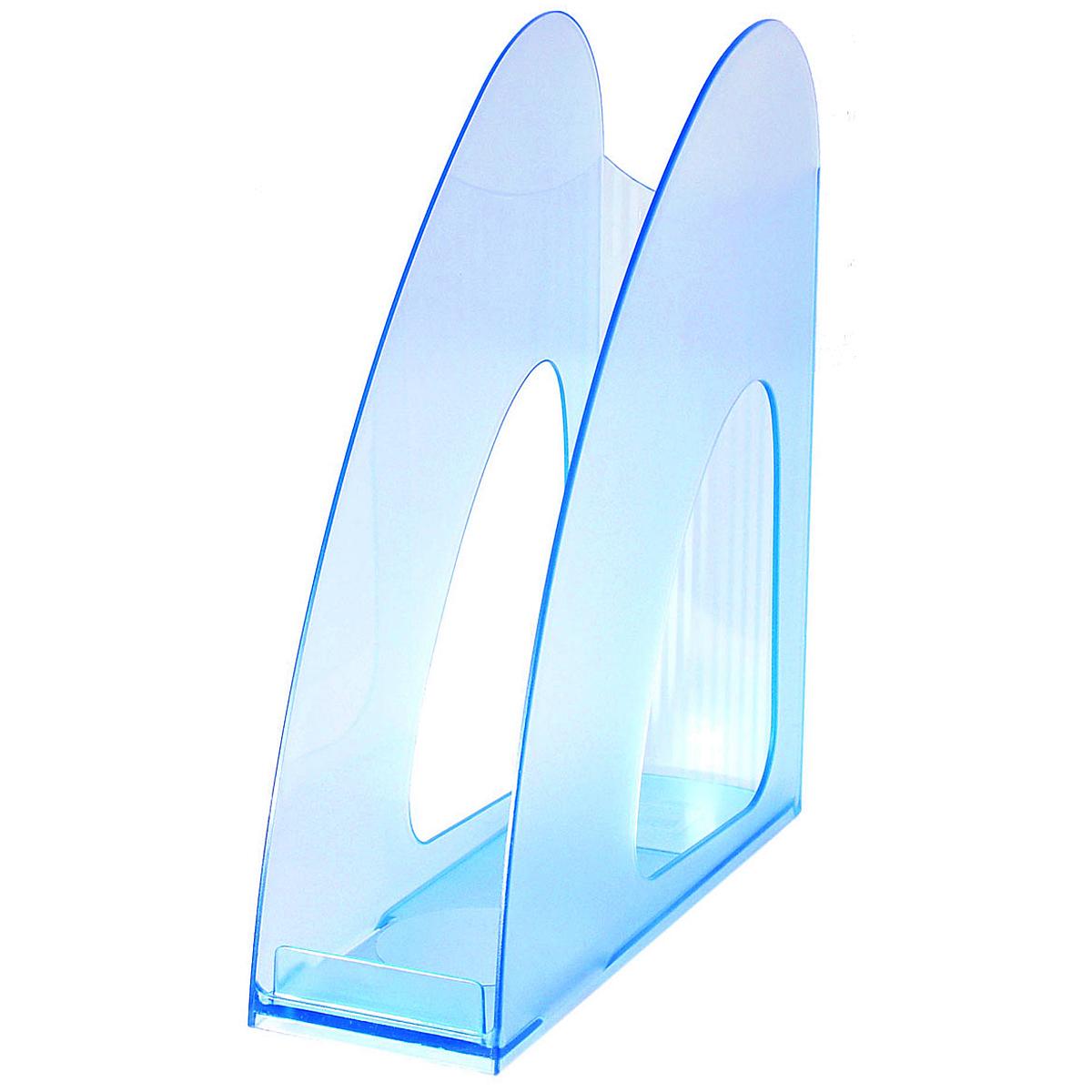 Лоток для бумаг вертикальный HAN Twin, прозрачный, цвет: синийHA1611/64Вертикальный лоток для бумаг HAN Twin с оригинальным дизайном корпуса поможет вам навести порядок на столе и сэкономить пространство. Лоток изготовлен из высококачественного антистатического прозрачного пластика. Низкий передний порог облегчает изъятие документов из накопителя. Благодаря лотку для бумаг, важные бумаги и документы всегда будут под рукой.