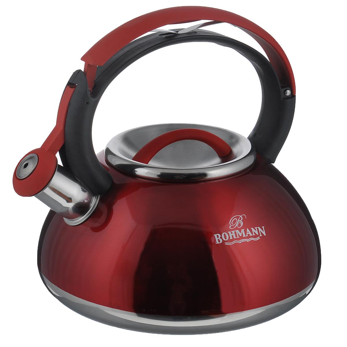 Чайник Bohmann со свистком, цвет: красный, 3 л. BH - 9939BH - 9939Чайник Bohmann изготовлен из высококачественной нержавеющей стали с глянцевым цветным покрытием. Фиксированная ручка изготовлена из бакелита с прорезиненным покрытием. Носик чайника оснащен откидным свистком, звуковой сигнал которого подскажет, когда закипит вода. Свисток открывается нажатием на ручку. Чайник Bohmann - качественное исполнение и стильное решение для вашей кухни. Подходит для использования на газовых, стеклокерамических, электрических, галогеновых плитах, не пригоден для индукционных плит. Также изделие можно мыть в посудомоечной машине. Высота чайника (без учета ручки и крышки): 10,5 см. Высота чайника (с учетом ручки): 22 см. Диаметр основания чайника: 21 см.