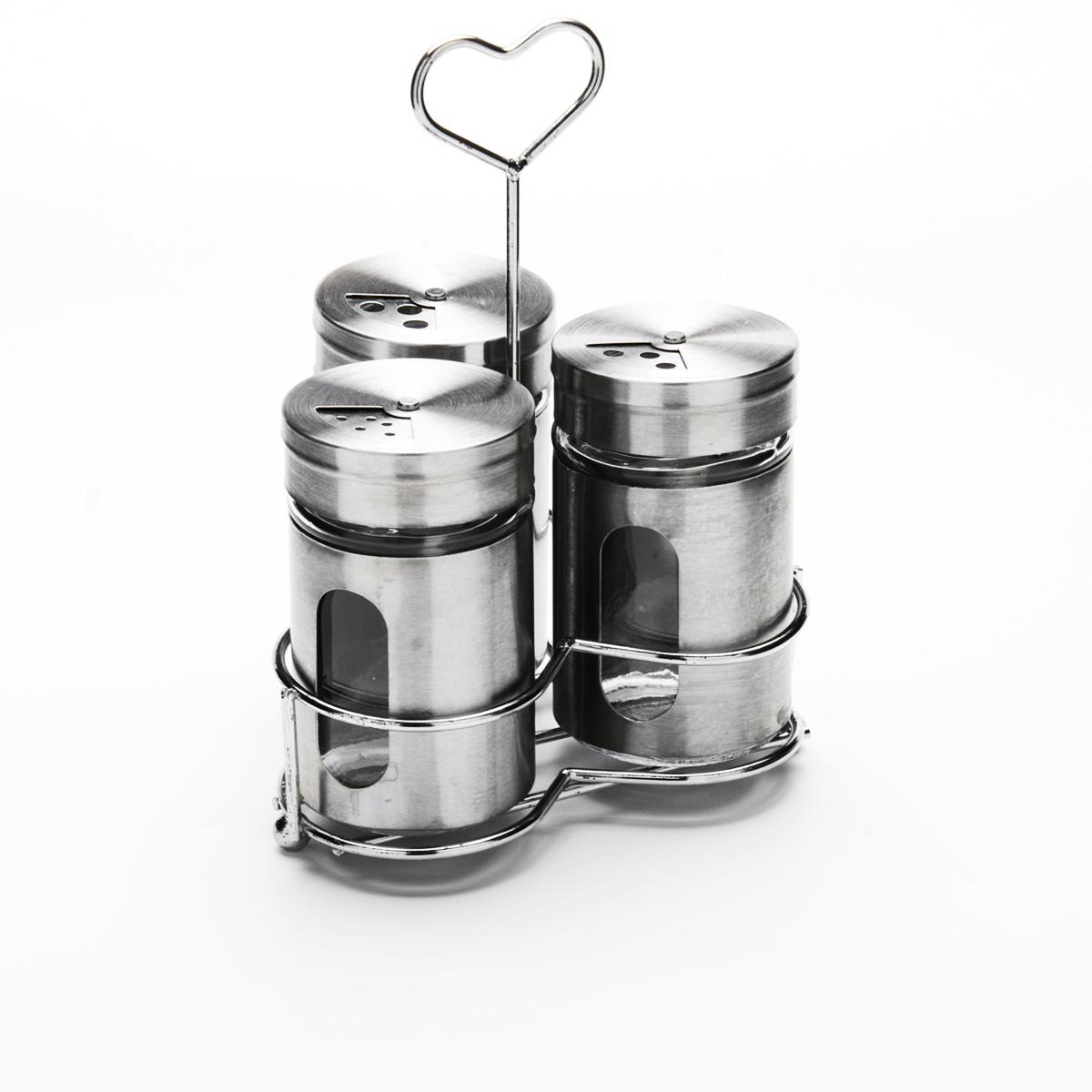 Набор для специй Mayer & Boch, на подставке, 4 предмета23480Набор для специй Mayer & Boch состоит из трех баночек и подставки. Баночки выполнены из стекла и высококачественной нержавеющей стали, оснащены плотно закручивающимися крышками, которые имеют три варианта добавления специй: через мелкие, средние или крупные отверстия. Для баночек предусмотрена металлическая подставка с ручкой. Набор для специй Mayer & Boch стильно оформит интерьер кухни и станет незаменимым при приготовлении пищи. Компактный, не занимает много места и всегда будет под рукой.